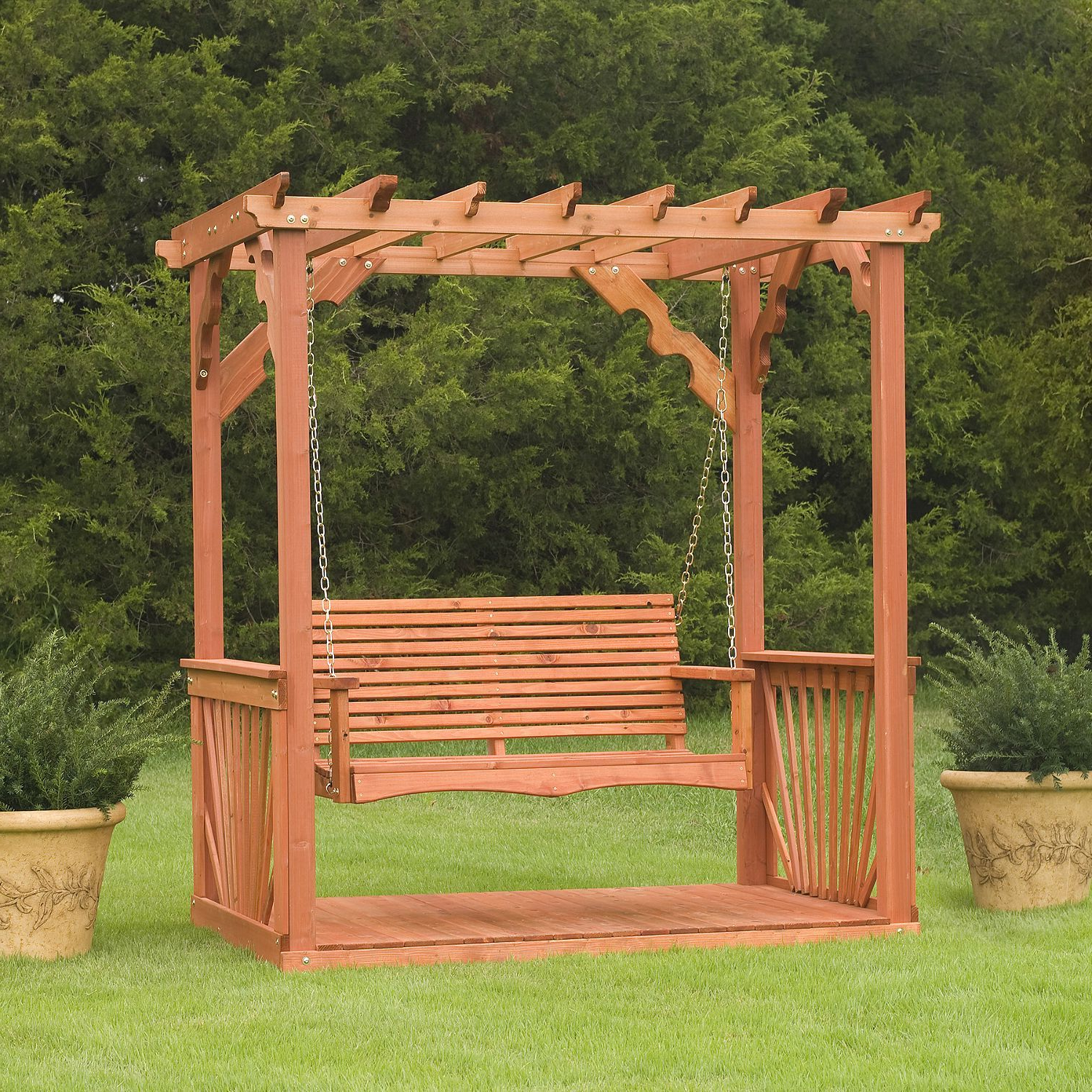3 Person Natural Cedar Wood Outdoor Swings Intended For Famous Cedar Pergola Swing – Sam's Club $ (View 5 of 25)