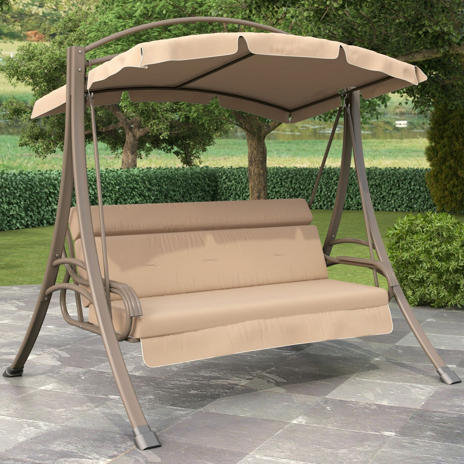 3 Person Outdoor Porch Swing With Canopy In Beige Tan Brown In Trendy 3 Person Brown Steel Outdoor Swings (Gallery 15 of 25)