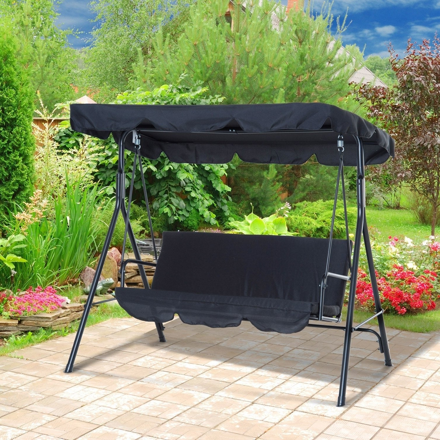 3 Person Outdoor Porch Swings With Stand With Best And Newest Outsunny 3 Person Steel Fabric Outdoor Porch Swing Canopy With Stand – Black (View 22 of 25)