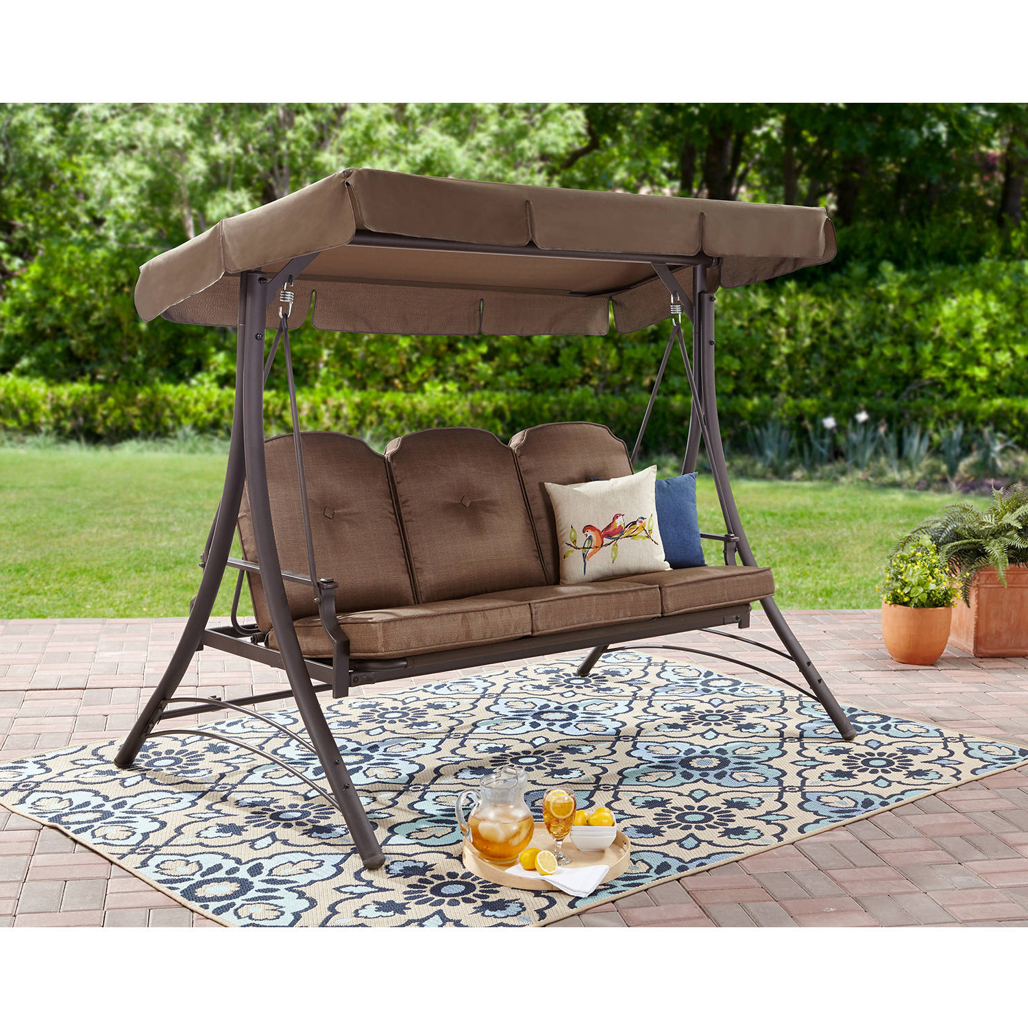 3 Person Red With Brown Powder Coated Frame Steel Outdoor Swings With Regard To Popular Mainstays Wentworth 3 Person Cushioned Canopy Porch Swing Bed – Walmart (Gallery 4 of 25)