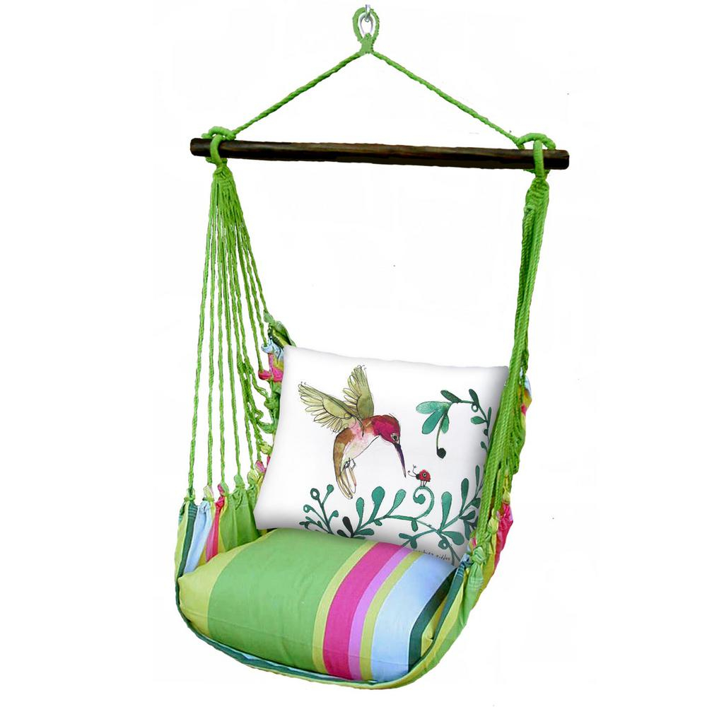 3 Piece Wood Polyester Cushioned Porch Swing With Hummingbird Print Back Pillow Throughout Most Recent Cotton Porch Swings (View 14 of 25)