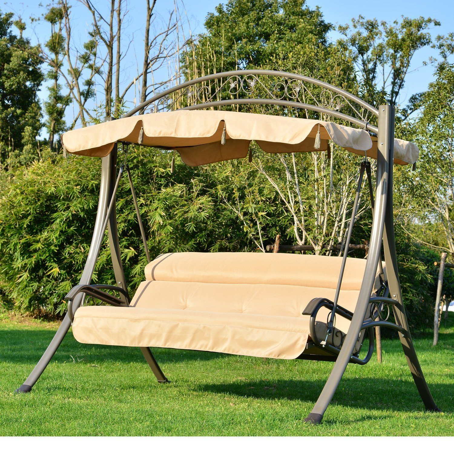 3 Seat Pergola Swings For Famous Outsunny 3 Seater Outdoor Garden Patio Metal Swing Chair (View 8 of 25)