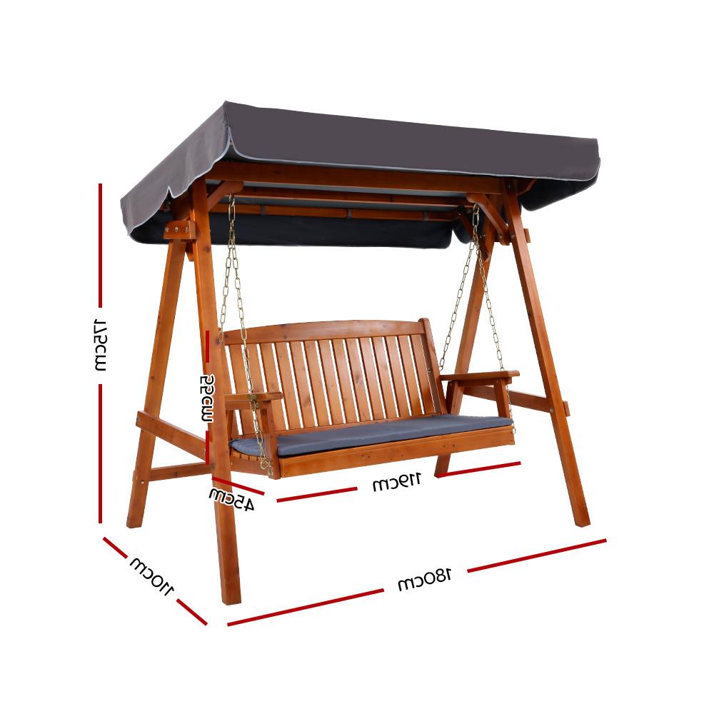 3 Seat Pergola Swings In 2020 Gardeon Wooden Swing Chair Garden Bench Canopy 3 Seater (View 16 of 25)