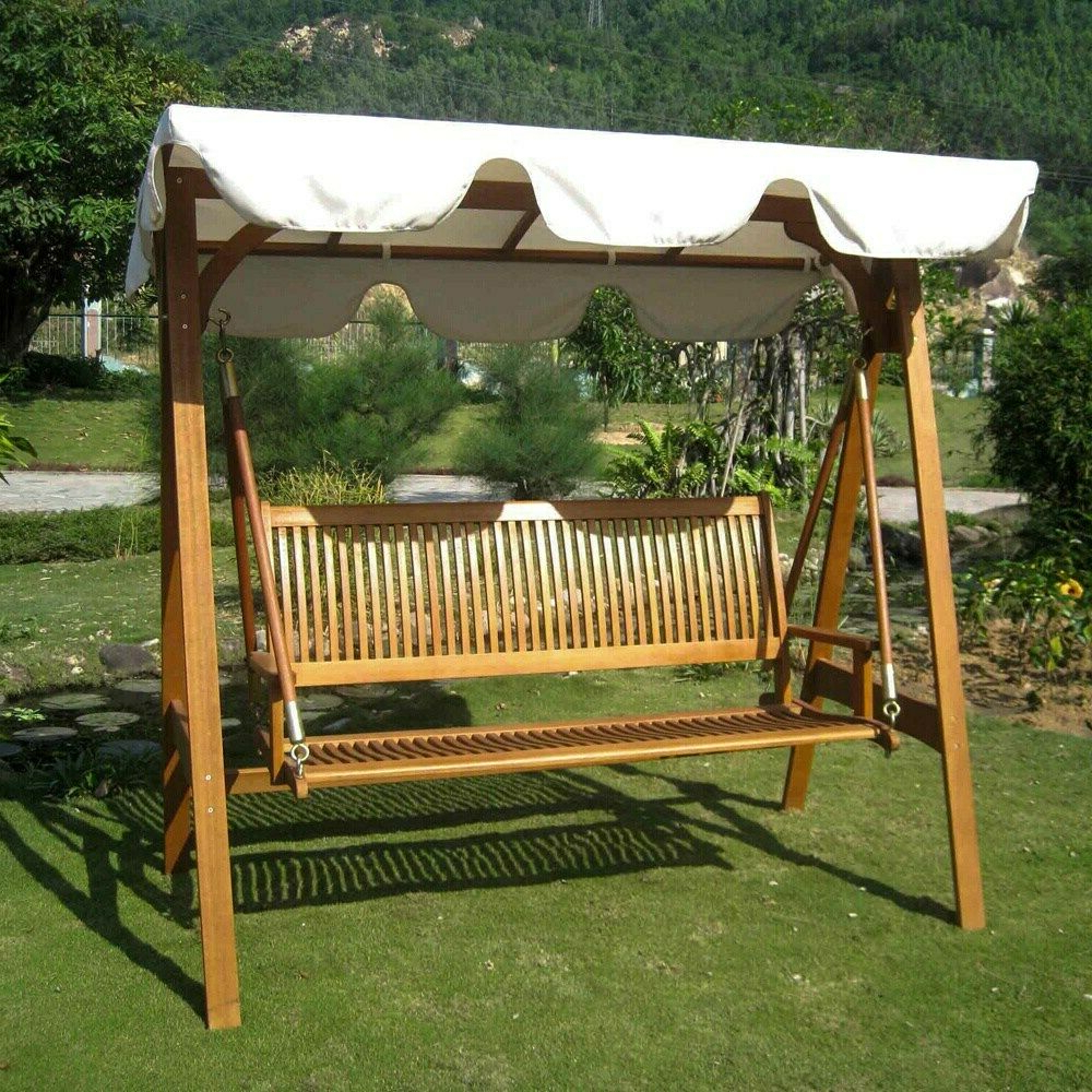 3 Seat Pergola Swings Intended For Preferred International Caravan Royal Tahiti 3 Seater Garden Swing Ivory (Gallery 3 of 25)