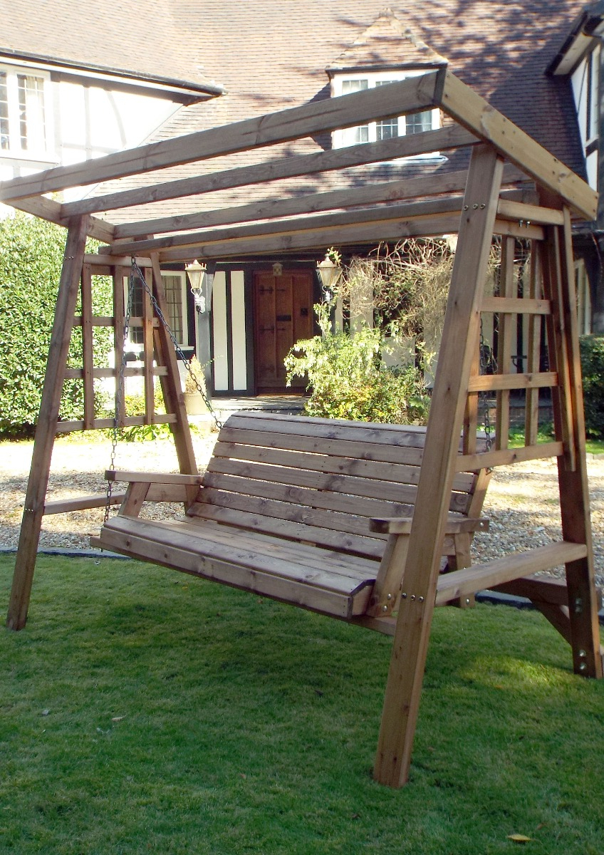 3 Seat Pergola Swings With Regard To Current Dorset 3 Seat Swing (Burgundy Roof Cover) (Gallery 18 of 25)