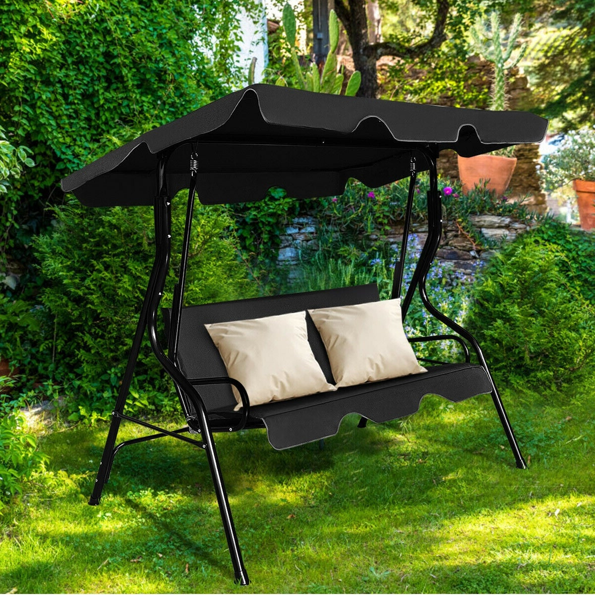 3 Seats Patio Canopy Swing Gliders Hammock Cushioned Steel Frame For Famous Costway 3 Seats Patio Canopy Swing Glider Hammock Cushioned Steel Frame Backyar Black (View 2 of 25)