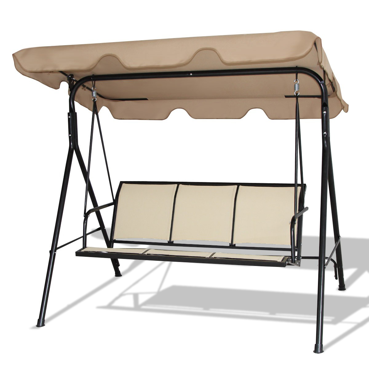 3 Seats Patio Canopy Swing Gliders Hammock Cushioned Steel Frame For Favorite Outdoor Patio 3 Person Porch Swing Bench Chair With Canopy (View 14 of 25)