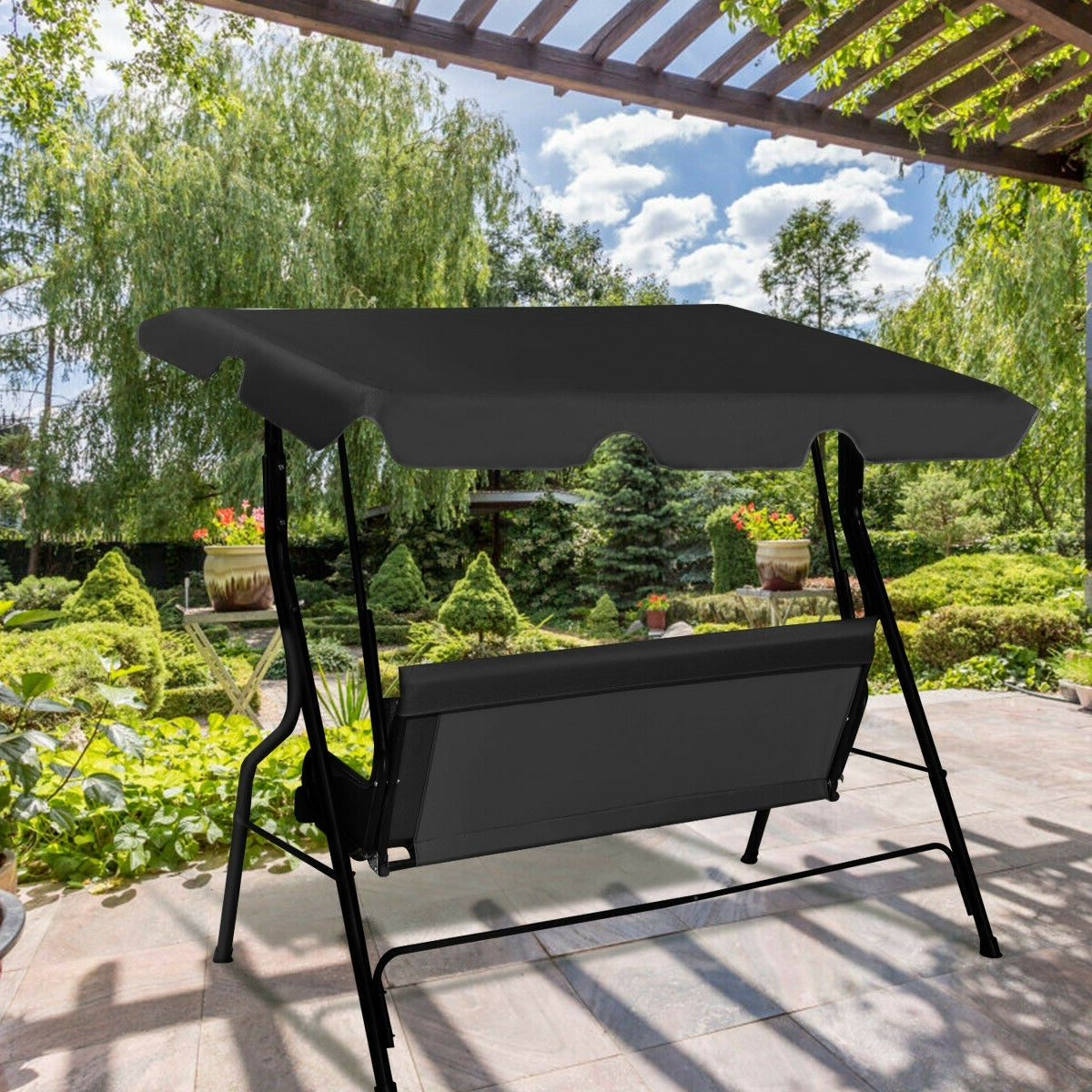 3 Seats Patio Canopy Swing Gliders Hammock Cushioned Steel Frame Pertaining To Most Current Costway 3 Seats Patio Canopy Swing Glider Hammock Cushioned Steel Frame Backyar Black (Gallery 4 of 25)