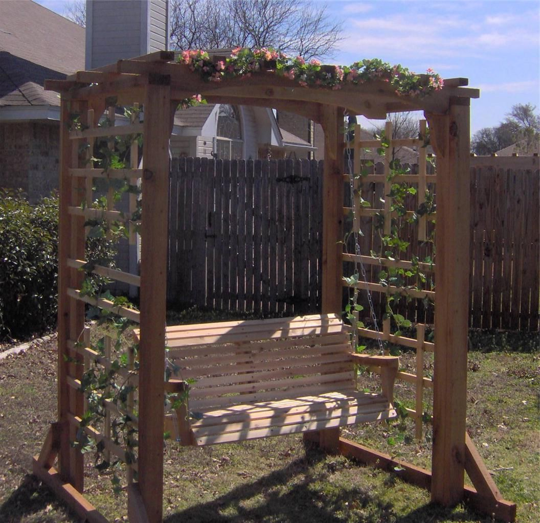 5 Ft Cedar Swings With Springs Intended For Most Current New Cedar Garden Arbor 5 Ft Porch Swing Pergola With Heavy (Gallery 2 of 25)