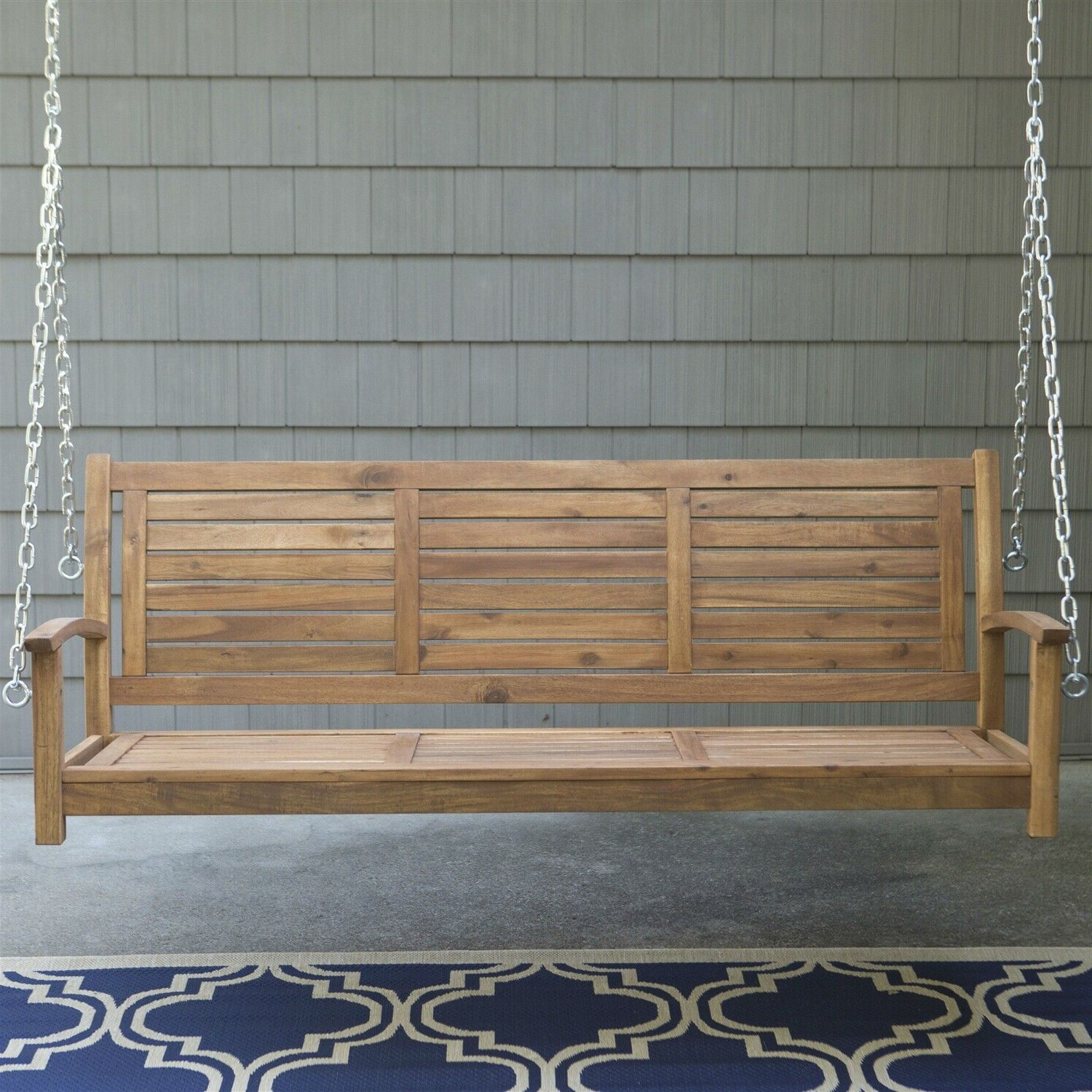 5 Ft Cedar Swings With Springs Intended For Most Recently Released Outdoor 5 Ft Slatted Porch Swing In Natural Acacia Wood With Hanging Chain (View 23 of 25)