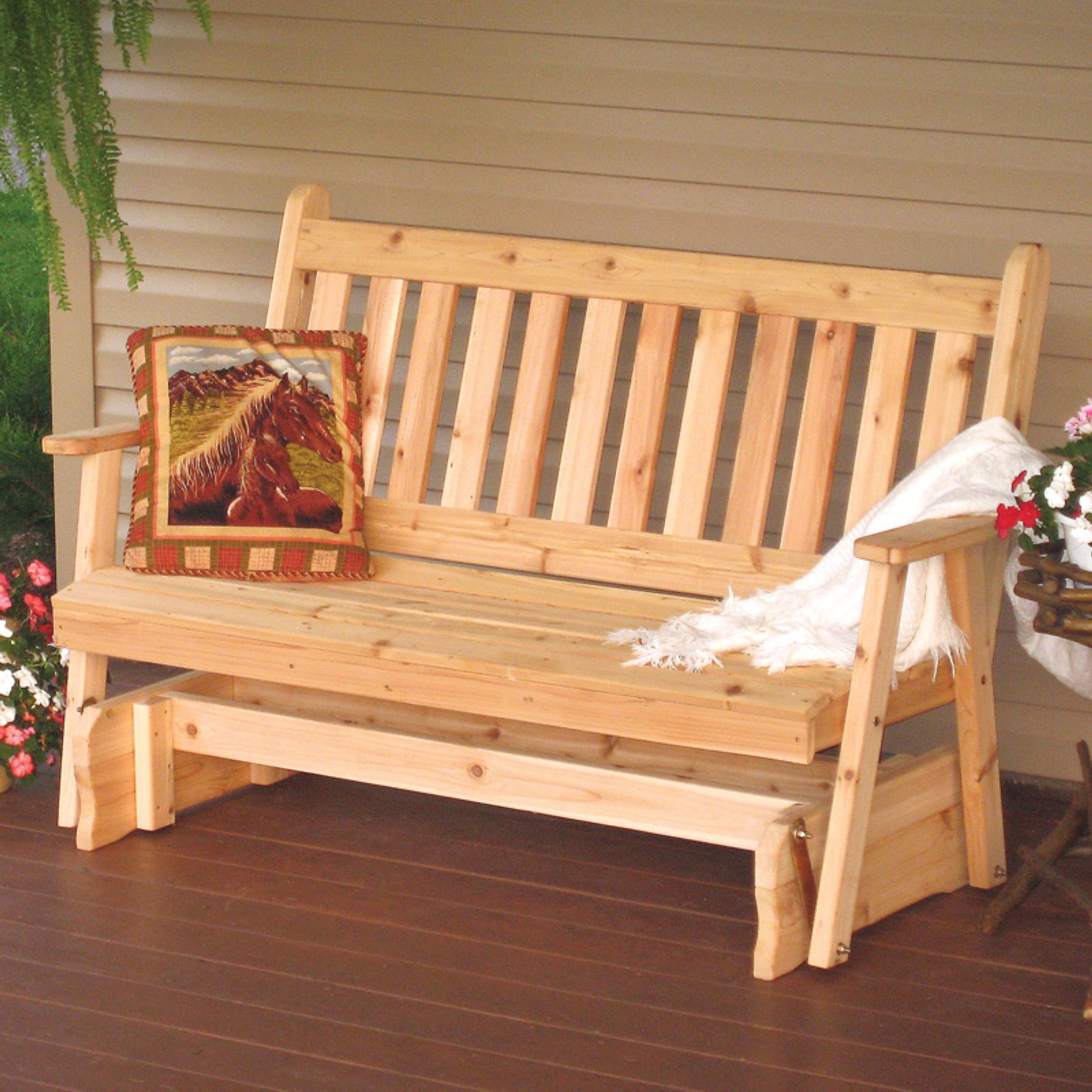 A & L Furniture Western Red Cedar Traditional English Within Fashionable 2 Person Natural Cedar Wood Outdoor Gliders (View 2 of 25)