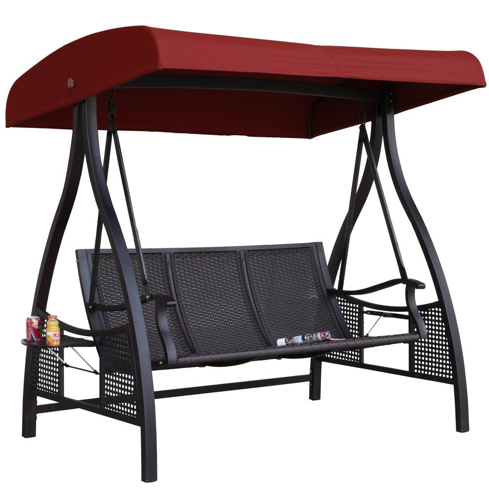 Abba Patio 3 Person Outdoor Metal Gazebo Padded Porch Swing Inside Current 3 Person Red With Brown Powder Coated Frame Steel Outdoor Swings (View 22 of 25)