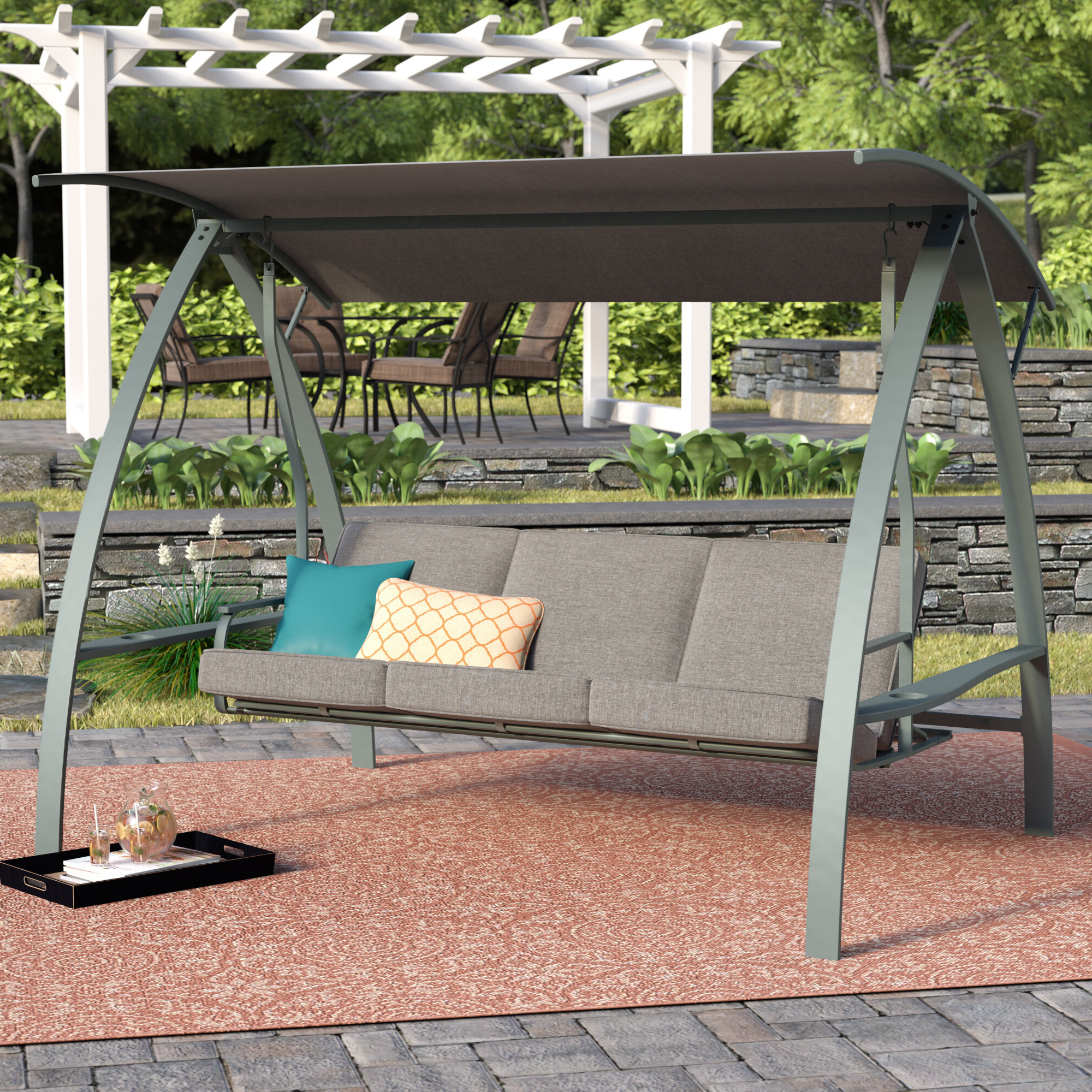 Andover Mills Marquette 3 Seat Daybed Porch Swing With Stand Inside Popular Pergola Porch Swings With Stand (Gallery 22 of 25)