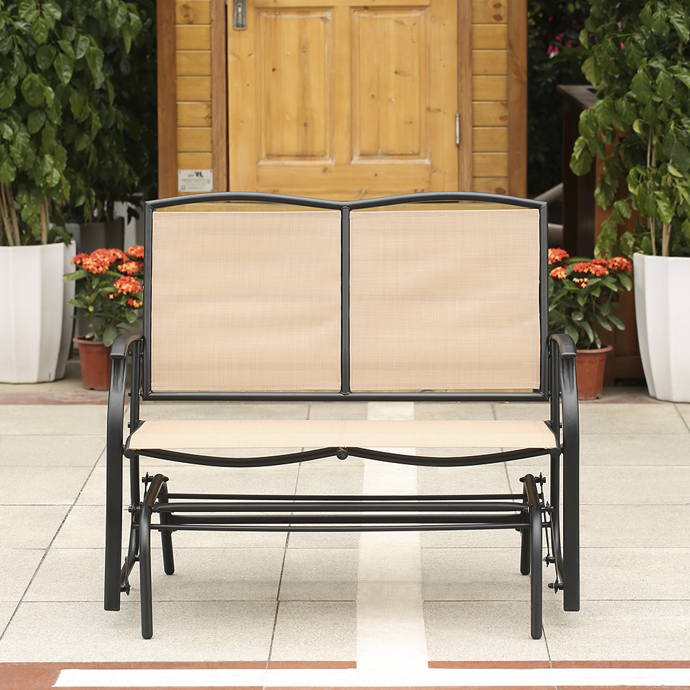 Beige Ikayaa 2 Person Patio Swing Glider Bench Chair – Lovdock Intended For Current Outdoor Patio Swing Glider Bench Chairs (View 16 of 25)