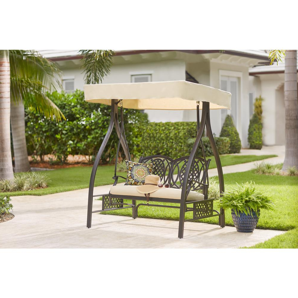 Belcourt Metal Outdoor Swing With Stand And Canopy With Cushionguard Oatmeal Cushion With Regard To Newest Canopy Patio Porch Swings With Pillows And Cup Holders (View 25 of 25)
