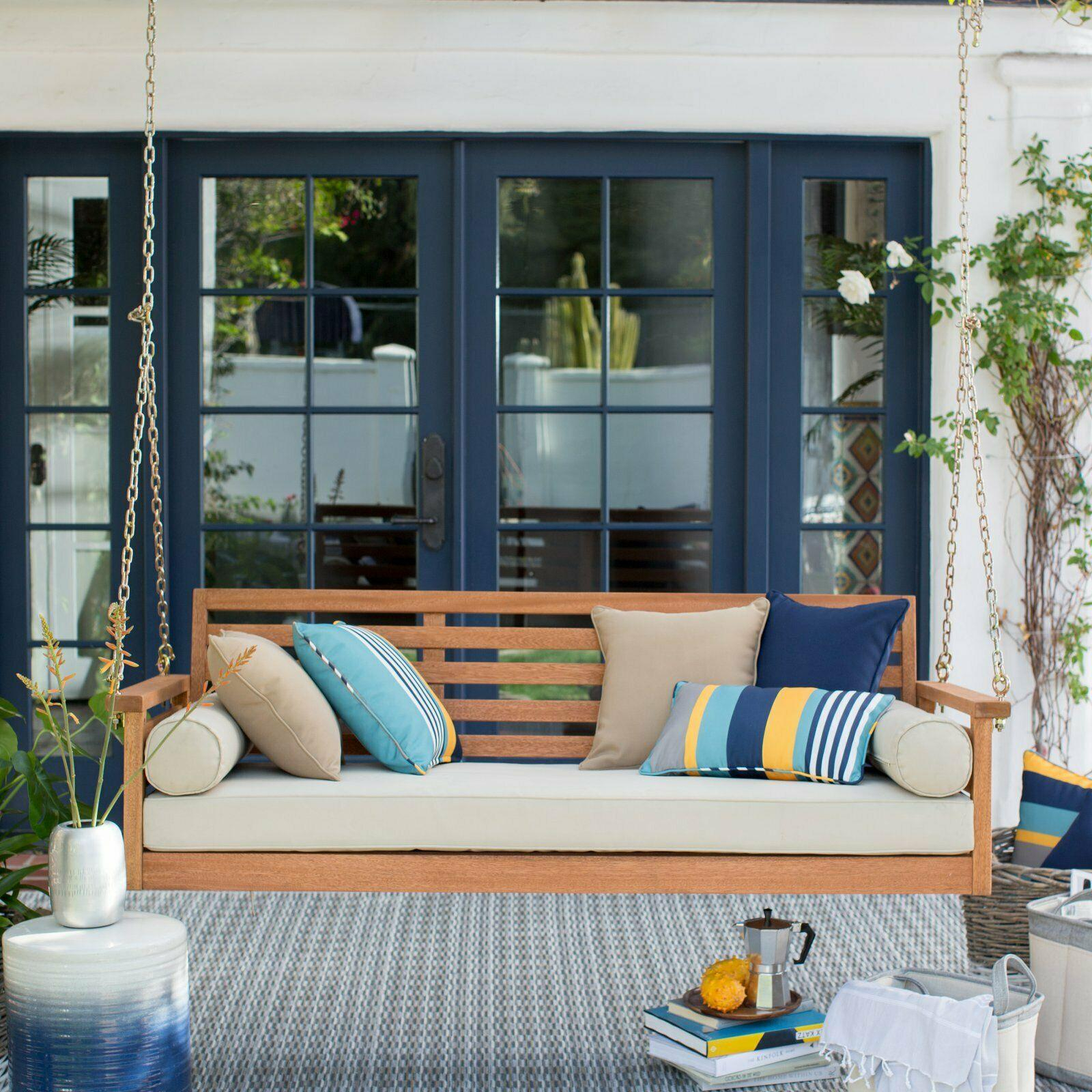 Belham Living Brighton Deep Seating 65 In. Porch Swing Bed With Cushion For Current Porch Swings (Gallery 19 of 26)