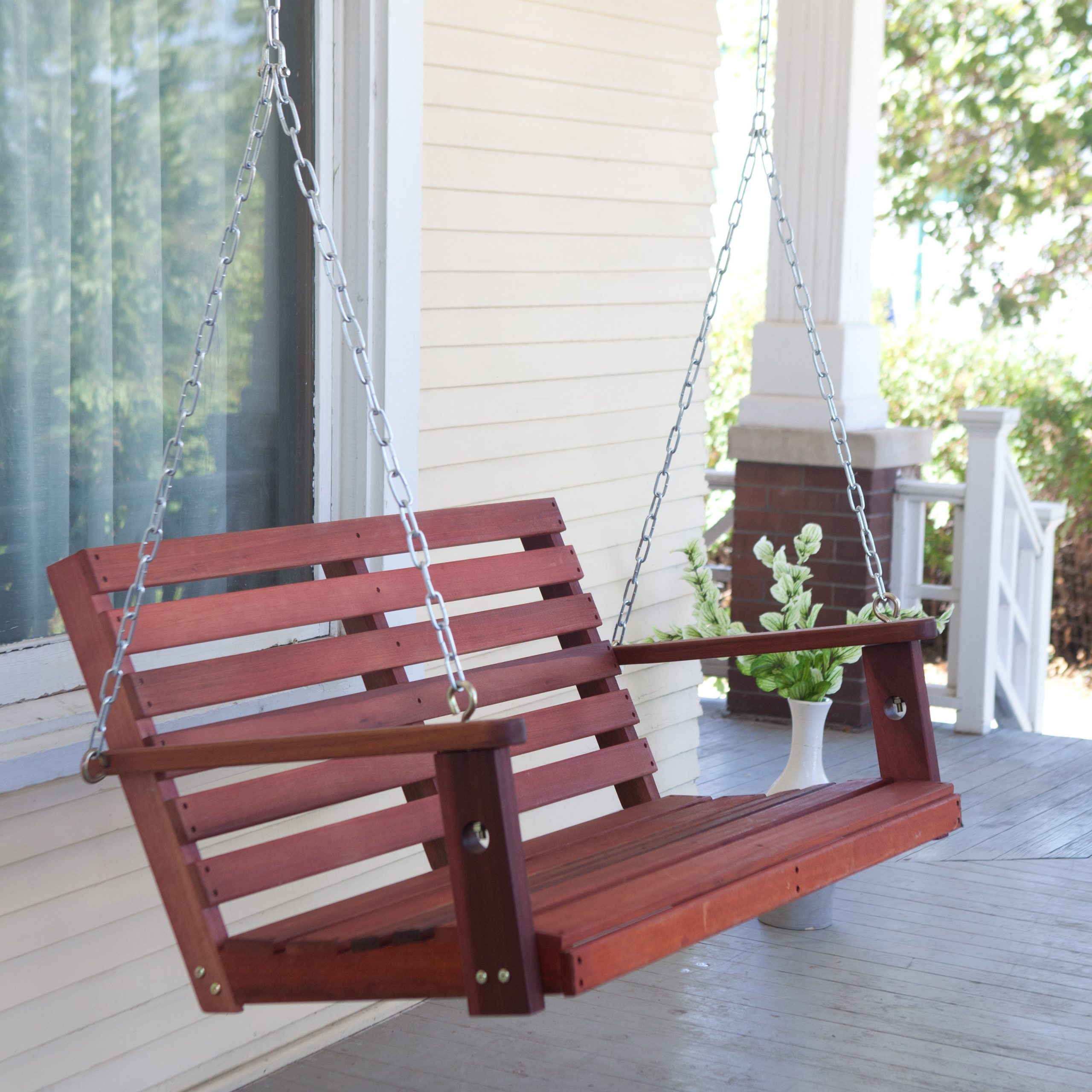 Belham Living Richmond Straight Back Porch Swing With Optional Swing Cushion – Walmart Inside Current Hardwood Hanging Porch Swings With Stand (View 8 of 25)