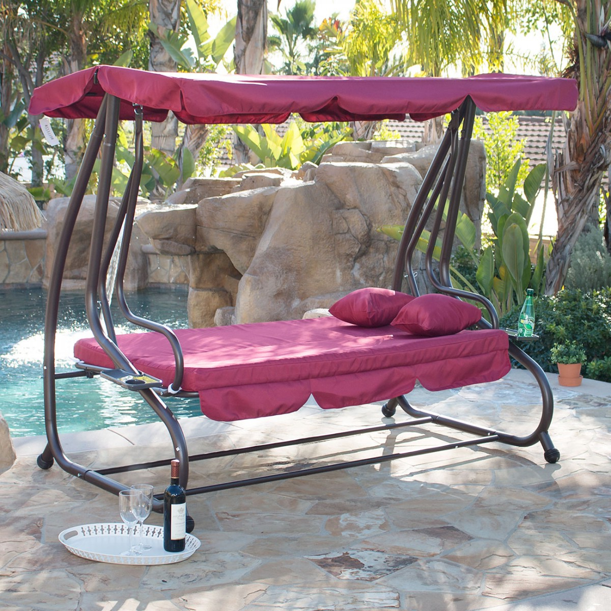 Belleze Outdoor Canopy Porch Swing/bed Hammock Tilt Canopy With Steel Frame (burgundy) Within Trendy Canopy Patio Porch Swings With Pillows And Cup Holders (View 9 of 25)