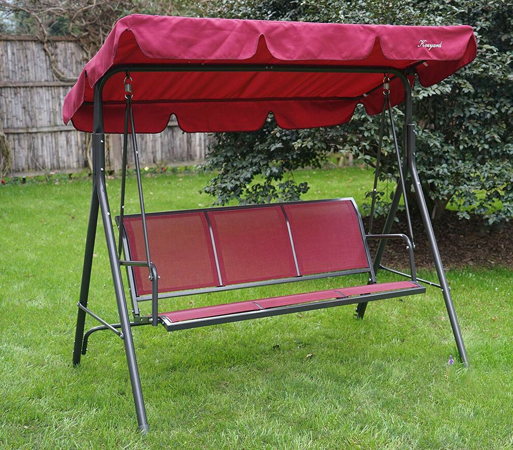 Bench With Canopy Porch Swing Stand Patio Furniture Fabric 3 Inside Famous Outdoor Swing Glider Chairs With Powder Coated Steel Frame (Gallery 16 of 25)
