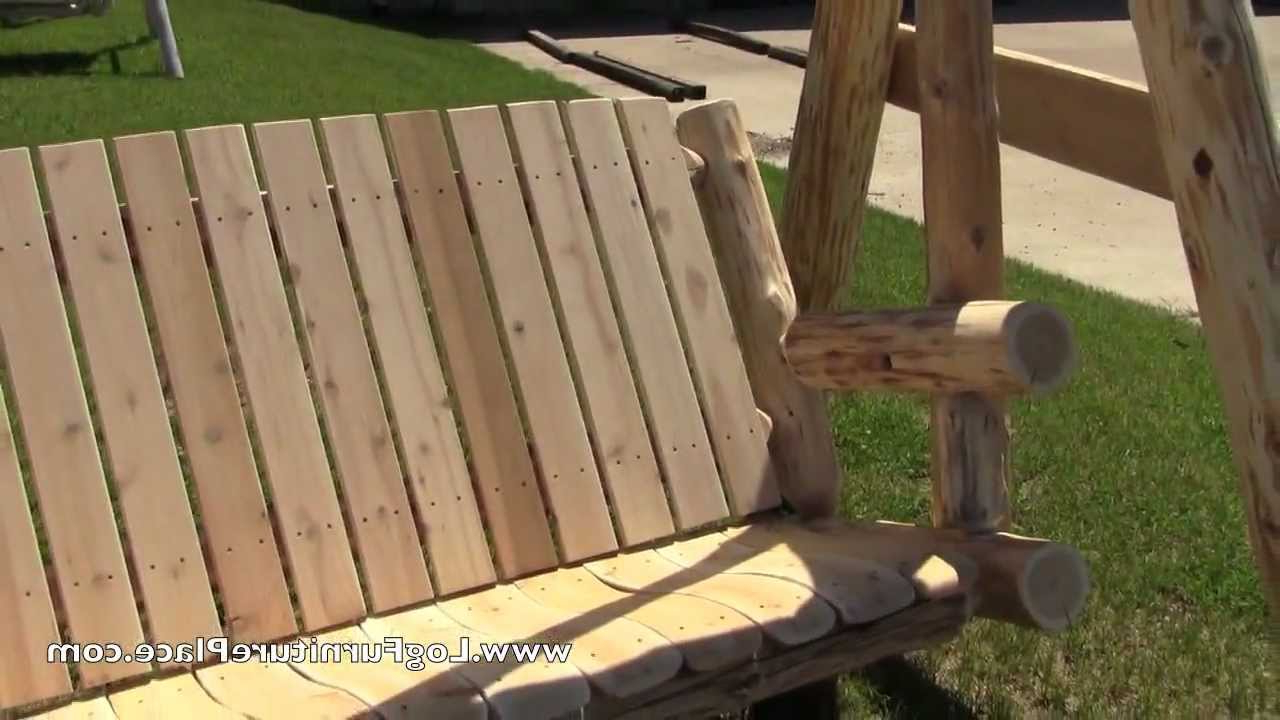 Best And Newest 3 Person Natural Cedar Wood Outdoor Swings In Cedar Lake Massive Cedar Log Yard Swing (View 19 of 25)