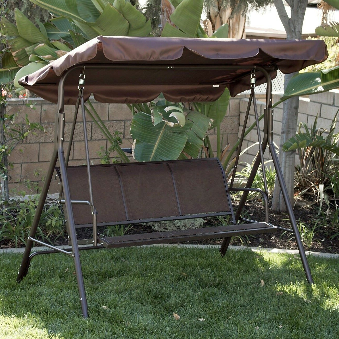 Best And Newest 3 Person Patio Swing Canopy Awning Outdoor Hammock Steel Brown With 3 Person Brown Steel Outdoor Swings (View 6 of 25)