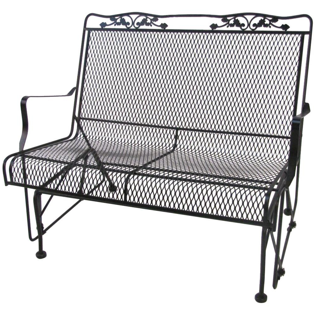 Best And Newest Arlington House Glenbrook Black Patio Glider Regarding 2 Person Antique Black Iron Outdoor Swings (Gallery 10 of 25)