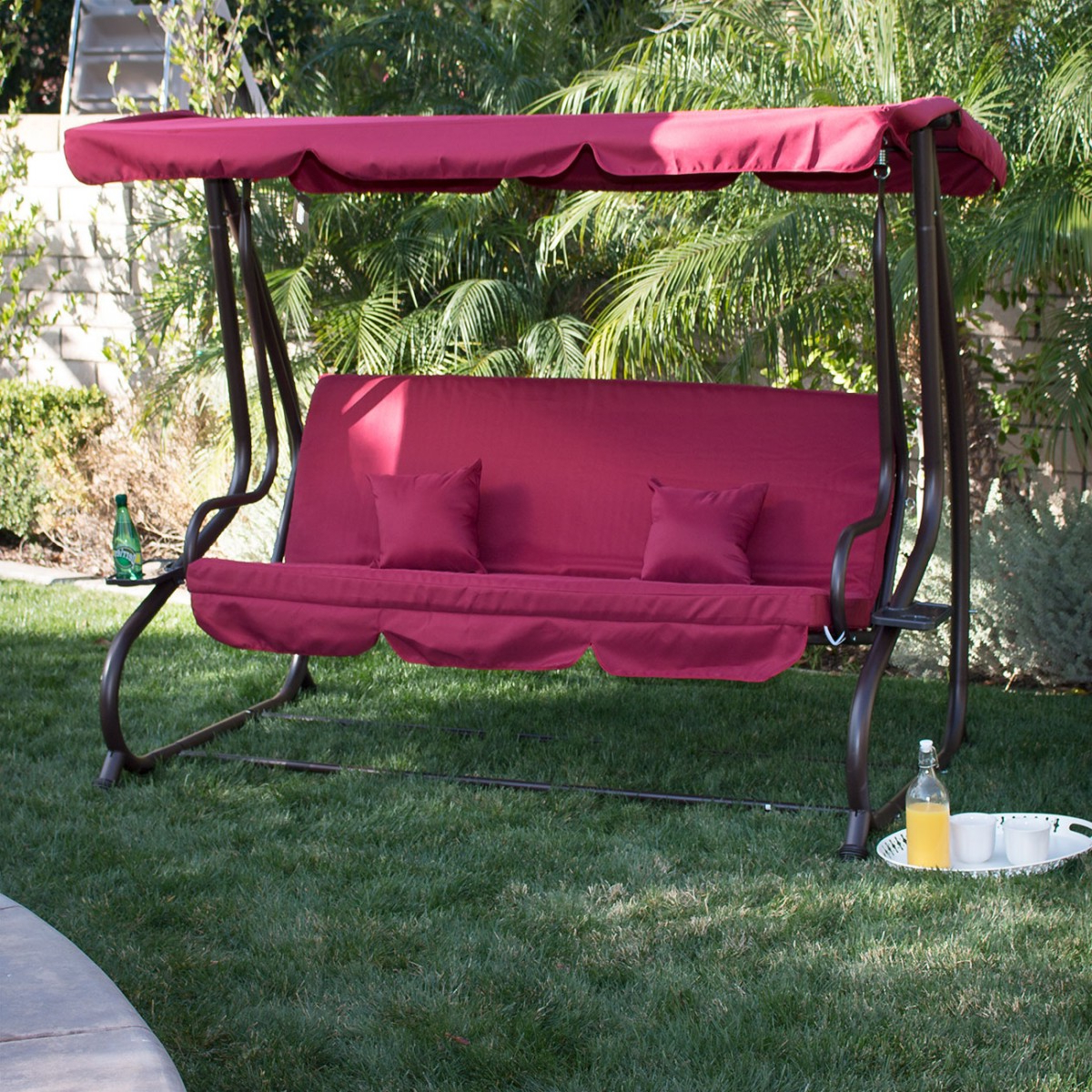 Best And Newest Canopy Patio Porch Swings With Pillows And Cup Holders With Regard To Belleze Outdoor Canopy Porch Swing/bed Hammock Tilt Canopy With Steel Frame (burgundy) (View 12 of 25)