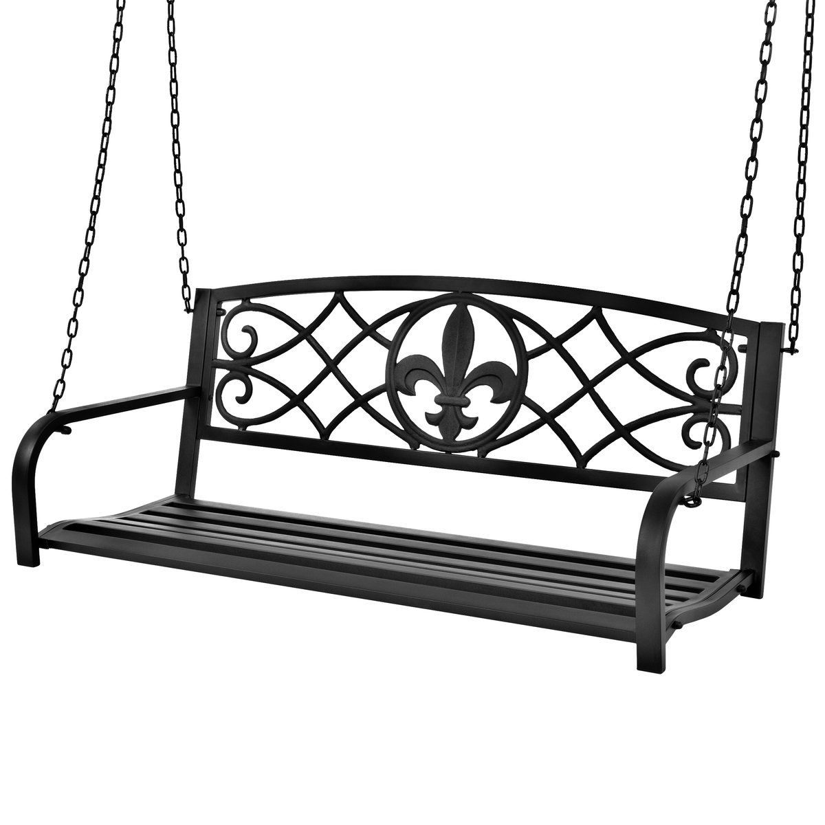 Best And Newest Outdoor Metal Hanging 2 Person Swing Bench W/ Fleur De Lis With 2 Person Black Steel Outdoor Swings (View 10 of 25)