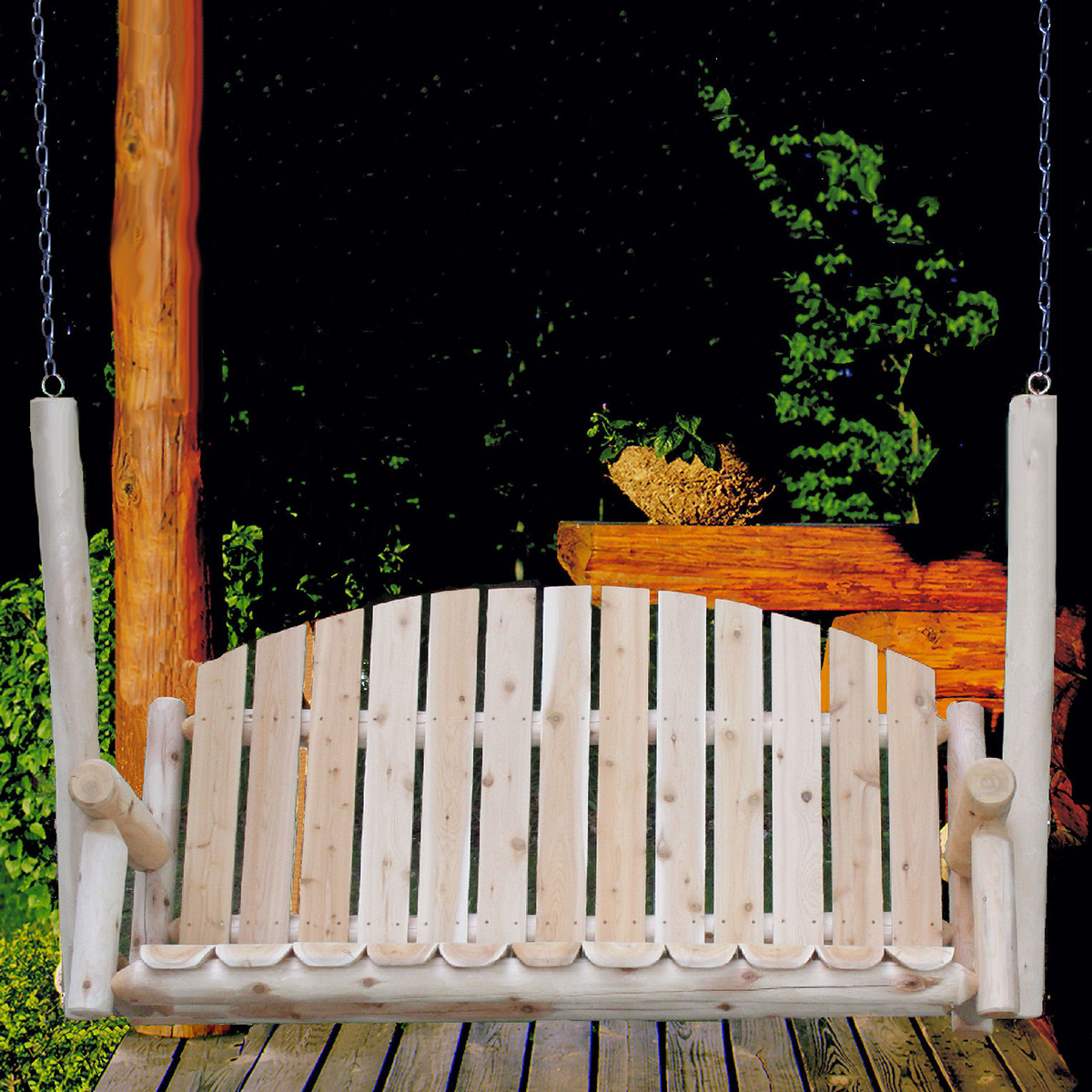 Best And Newest Outdoor Porch Swings In Cedar Log 5ft Country Porch Swing (View 21 of 25)