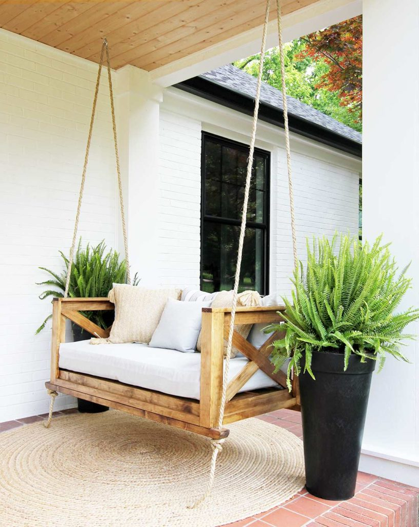 Best And Newest Porch Swings For How To Hang A Porch Swing – Plank And Pillow (Gallery 9 of 26)