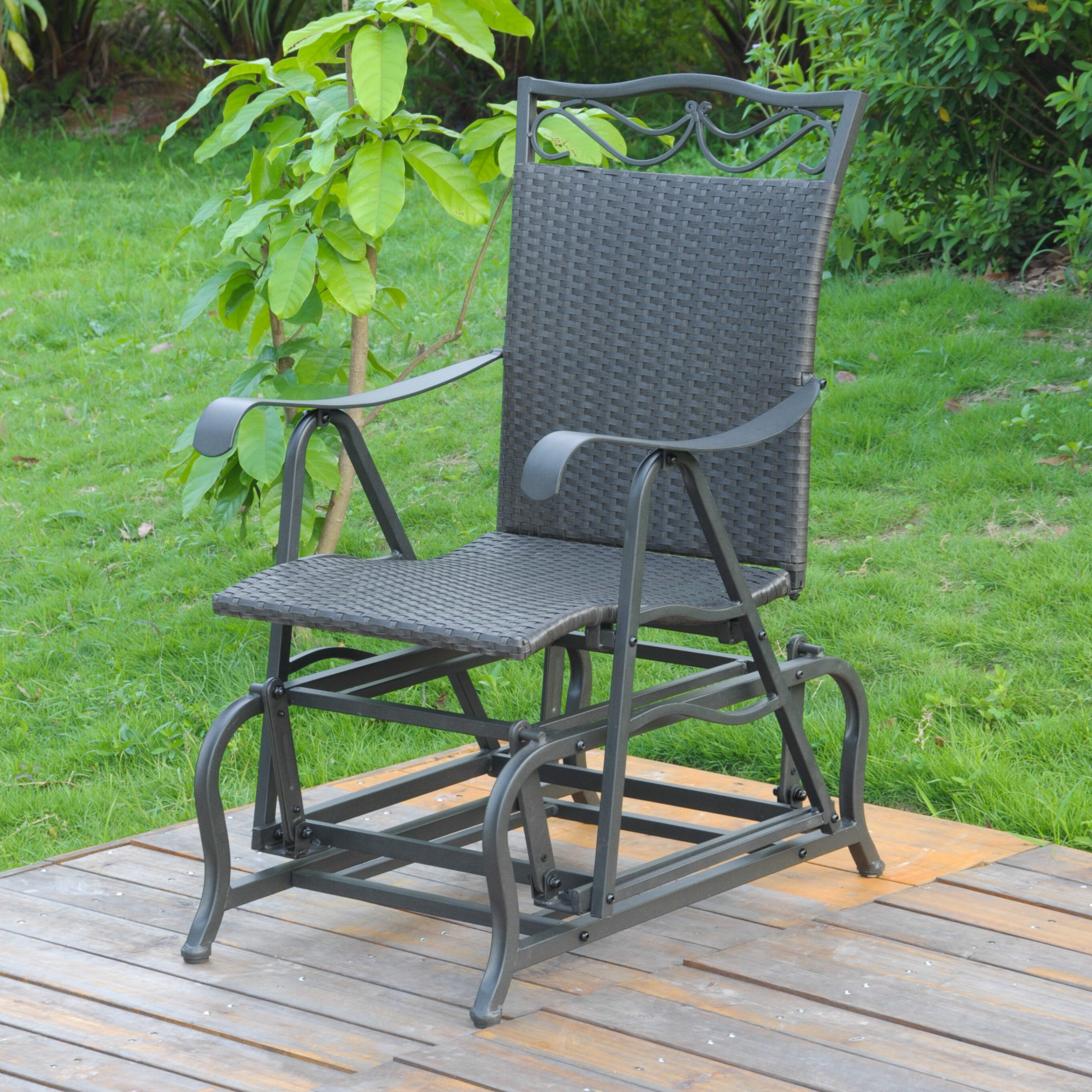Best And Newest Stapleton Patio Glider Chair Pertaining To 1 Person Antique Black Steel Outdoor Gliders (View 7 of 25)