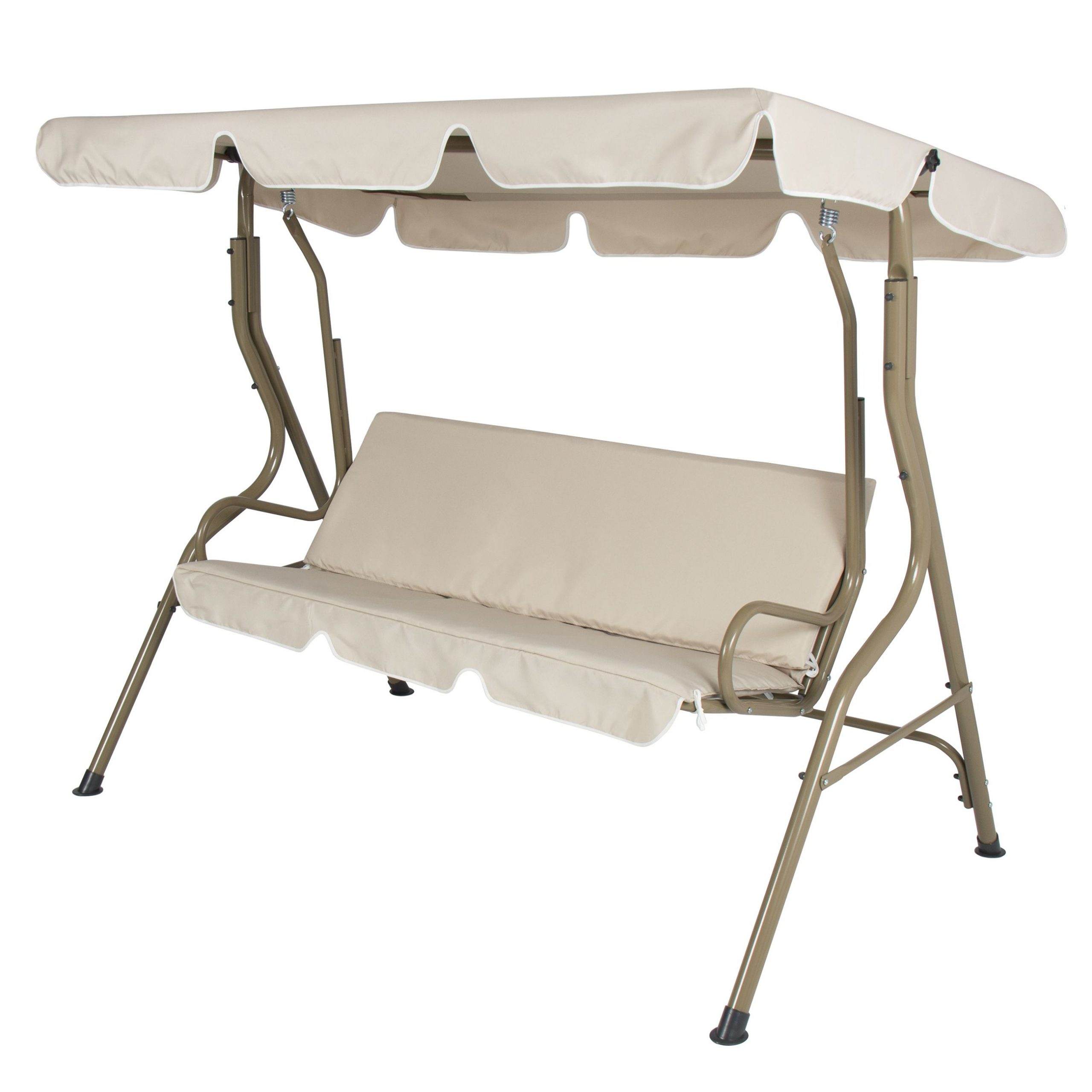 Featured Photo of 2-person Outdoor Convertible Canopy Swing Gliders with Removable Cushions Beige