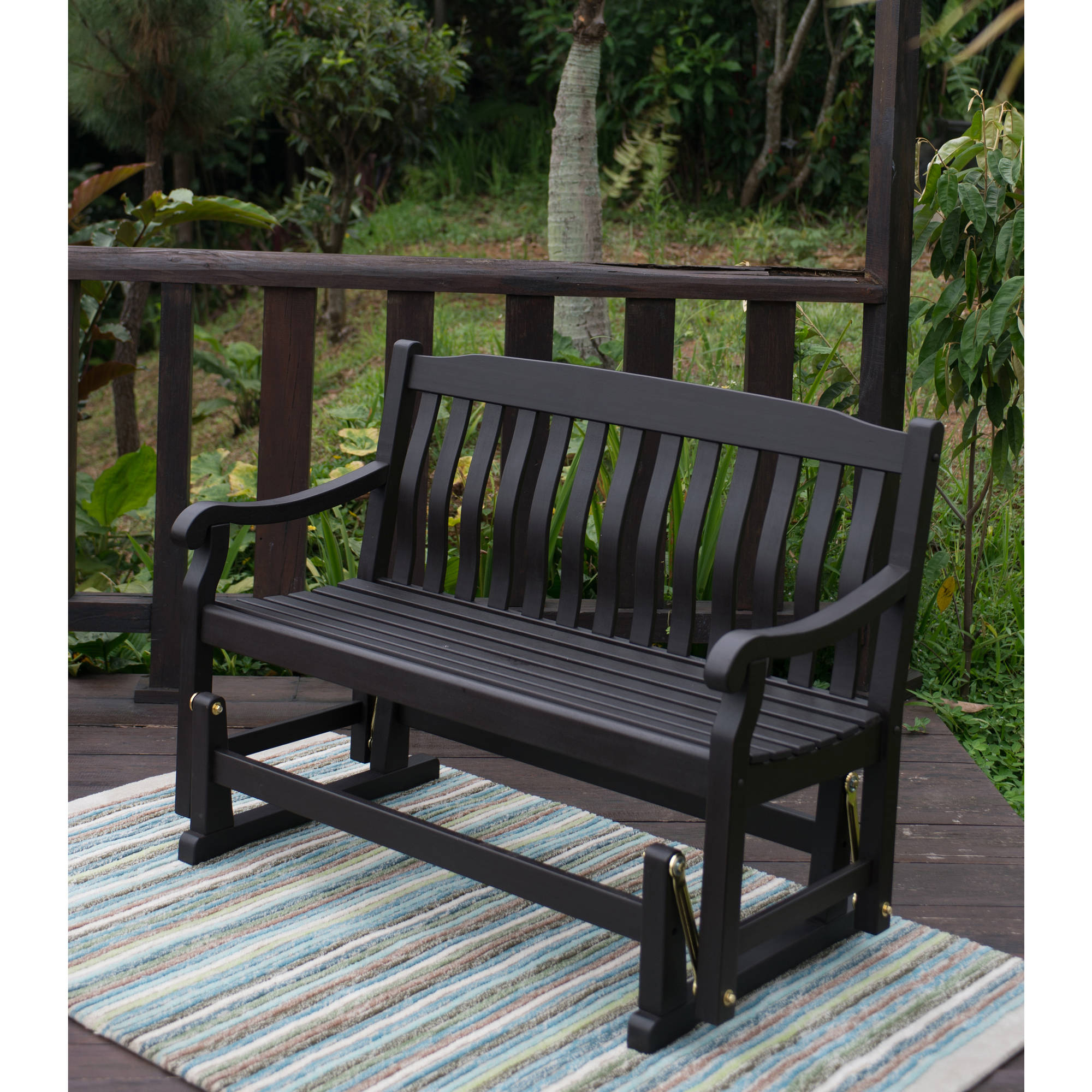 Better Homes & Gardens Delahey Outdoor Glider Bench, Dark Brown –  Walmart Within Best And Newest Black Outdoor Durable Steel Frame Patio Swing Glider Bench Chairs (View 2 of 25)