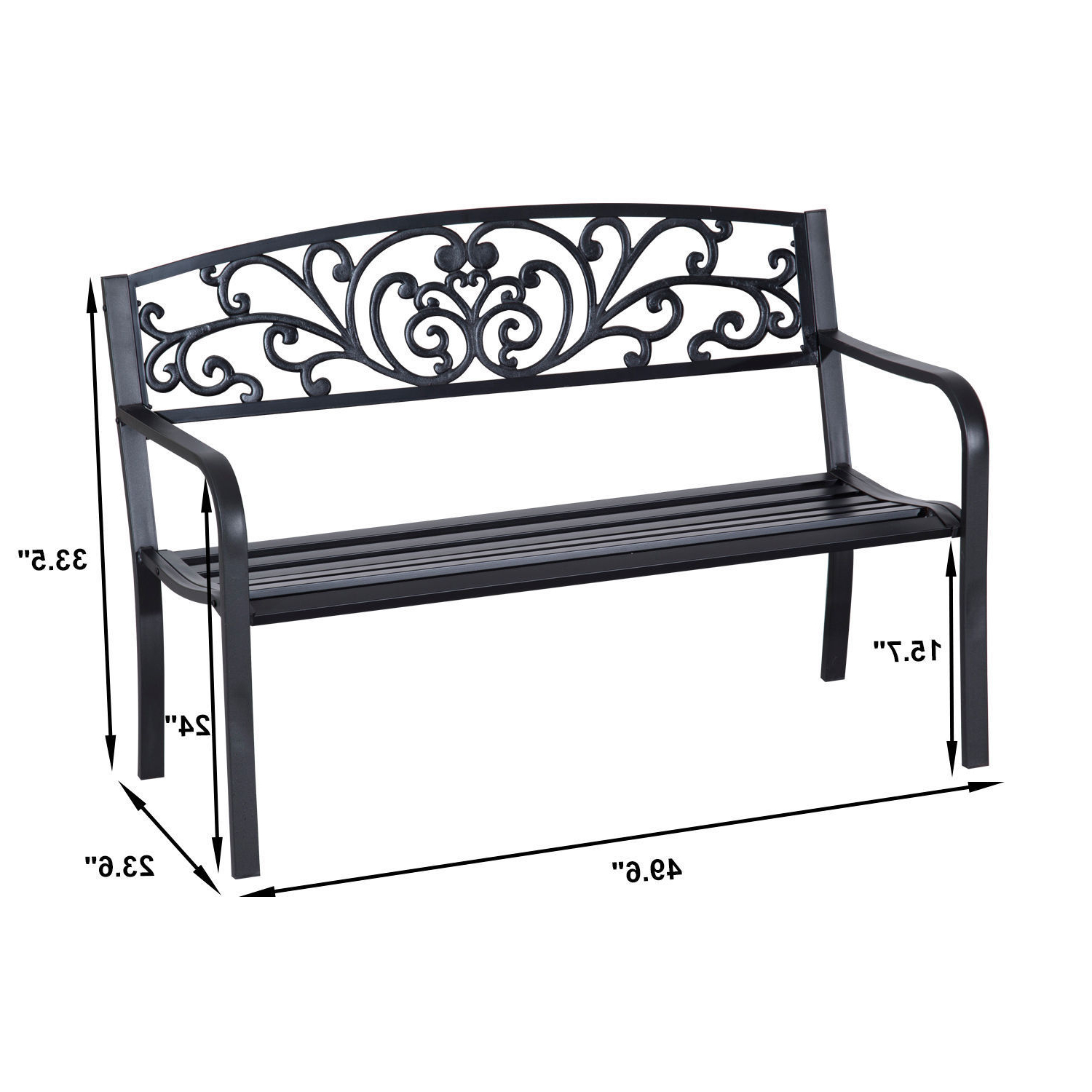 Black Outdoor Durable Steel Frame Patio Swing Glider Bench Chairs For Most Current Patio Park Garden Bench Porch Path Chair Outdoor Lawn Garden Black 2 Seat (Gallery 12 of 25)