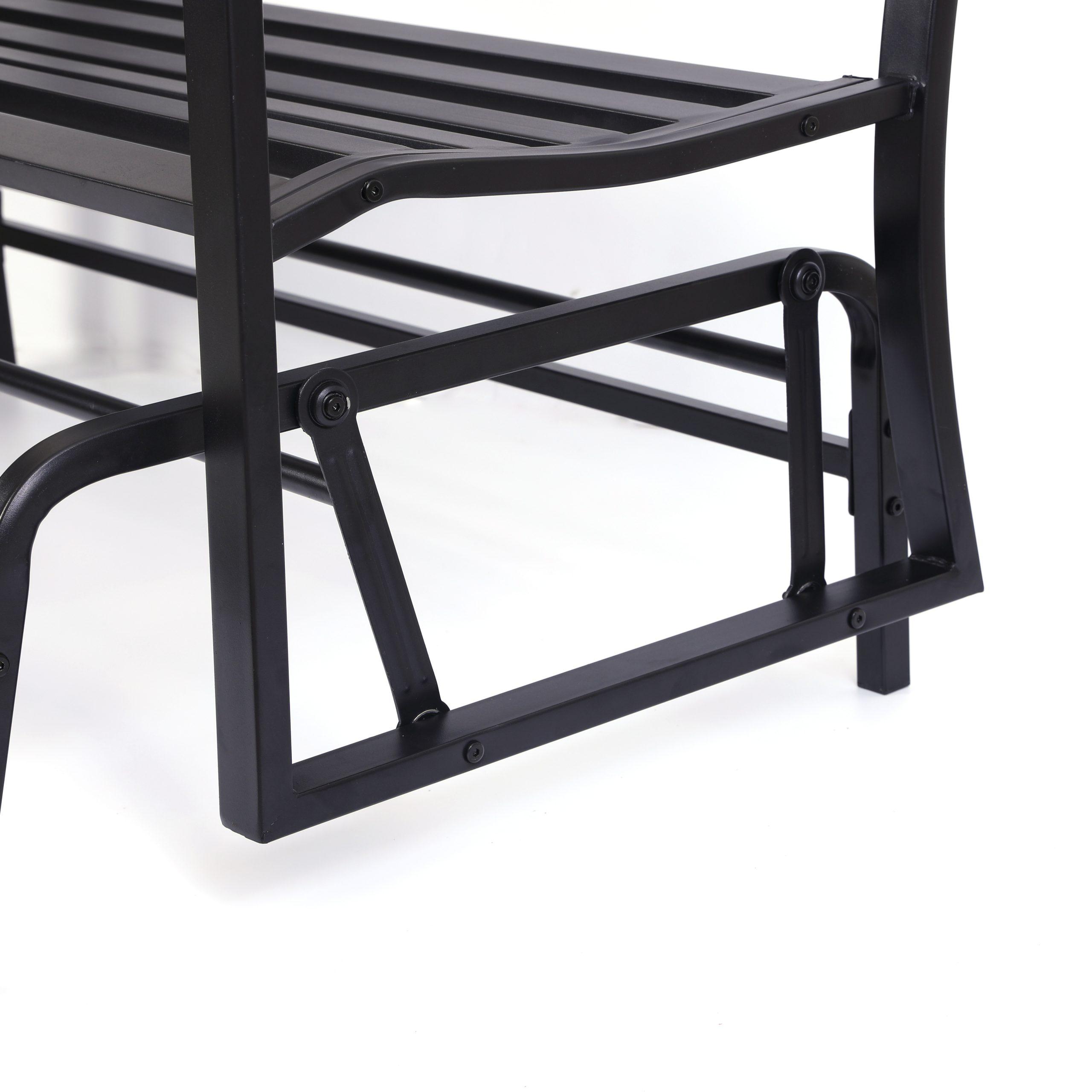 "Black Outdoor Durable Steel Frame Patio Swing Glider Bench Chairs Regarding Preferred Details About Gardenised Black Steel Patio Garden Park Yard 50"" Outdoor Swing Glider Bench (View 21 of 25)"