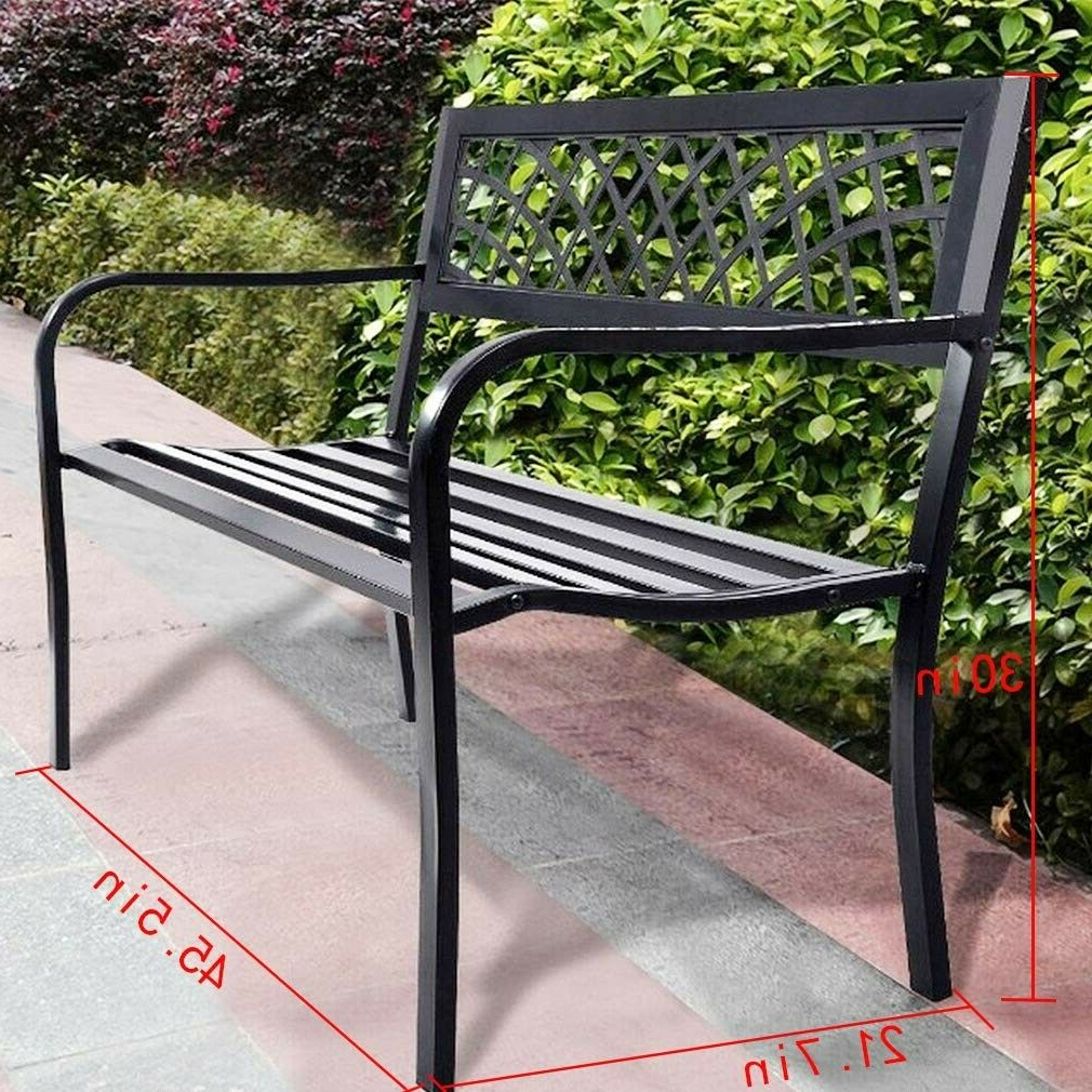 Black Outdoor Durable Steel Frame Patio Swing Glider Bench Chairs Throughout Most Up To Date Park Bench Outdoor Front Porch Patio Deck Garden Metal 50 In Steel Frame  Black (View 7 of 25)
