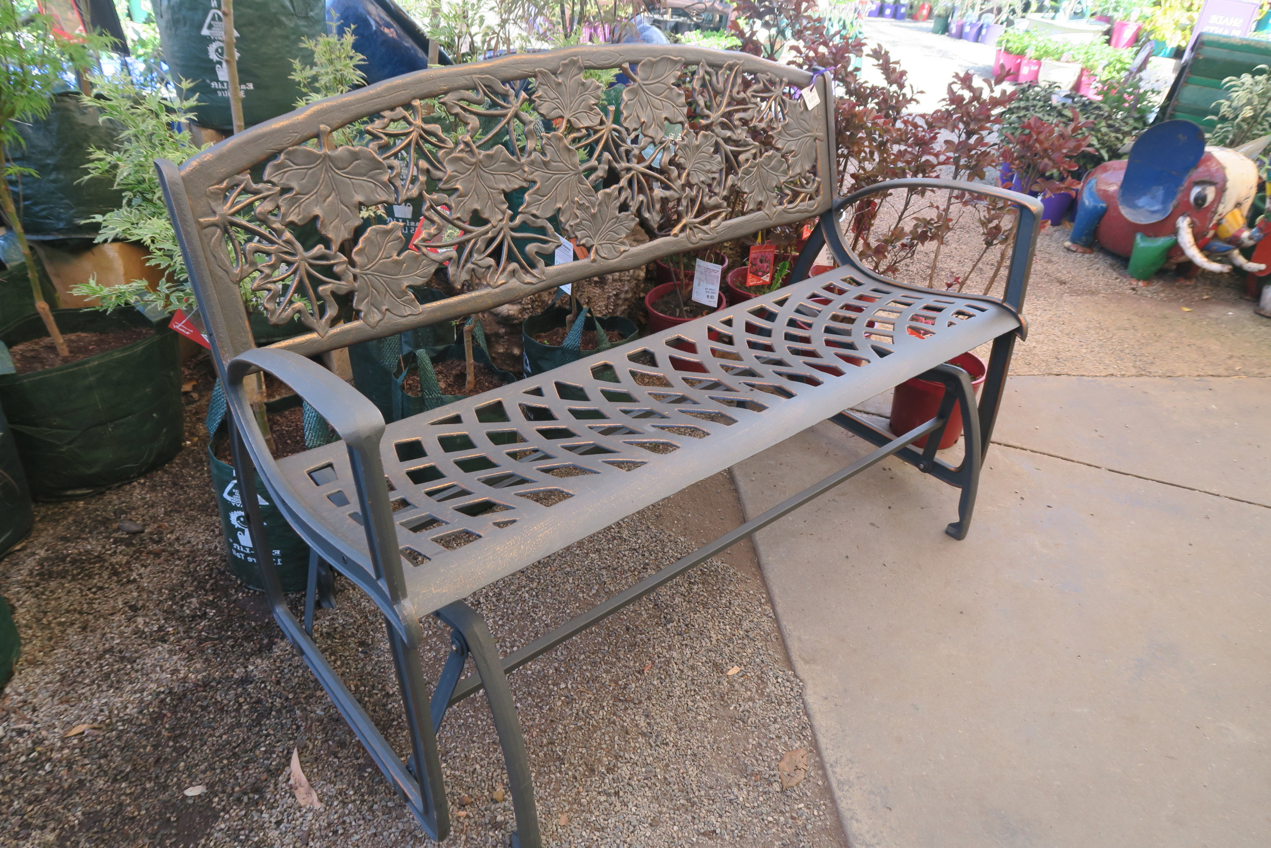 Black Steel Patio Swing Glider Benches Powder Coated Pertaining To Favorite Cast Iron Glider Bench (View 22 of 25)