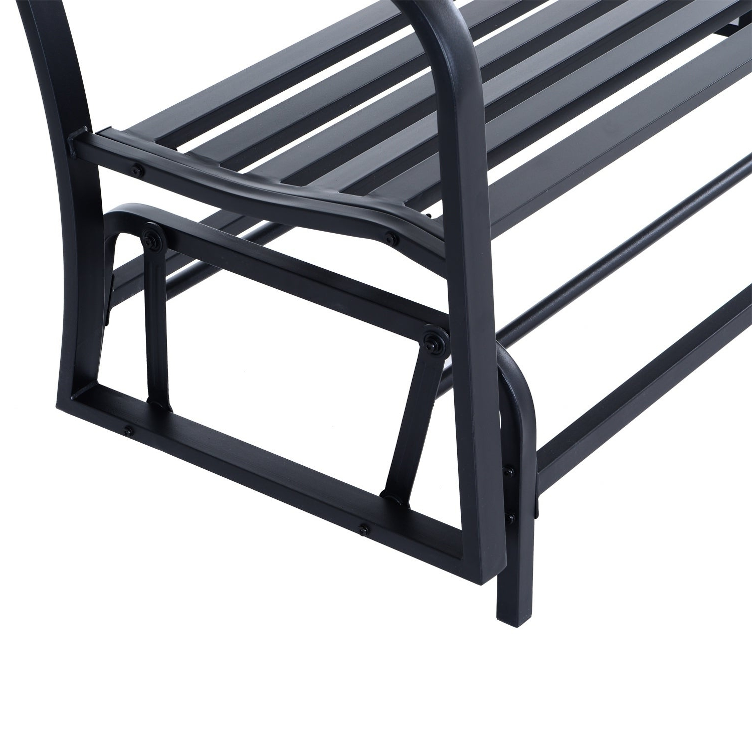 Black Steel Patio Swing Glider Benches Powder Coated Pertaining To Trendy Outsunny 50 Inch Outdoor Steel Patio Swing Glider Bench – Black (View 11 of 25)