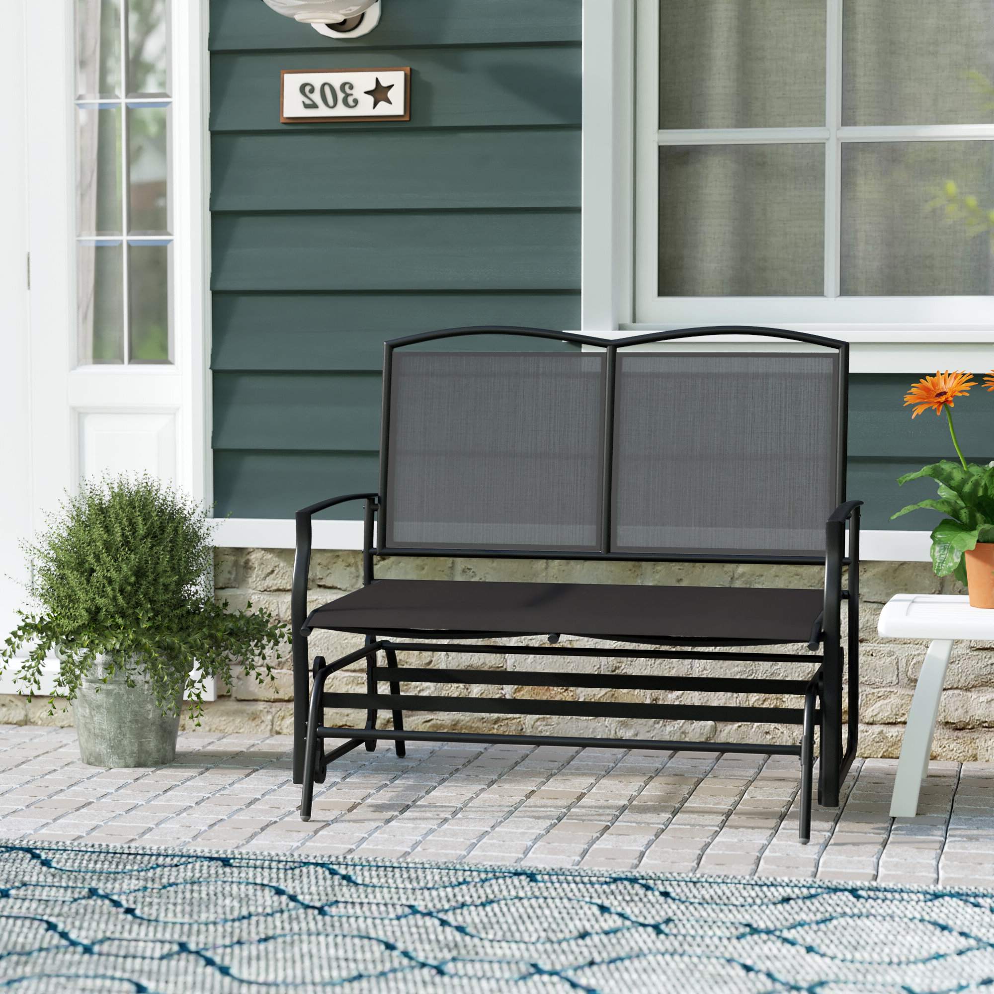 Black Steel Patio Swing Glider Benches Powder Coated With Trendy Ashong 2 Seat Steel Glider Bench (Gallery 17 of 25)