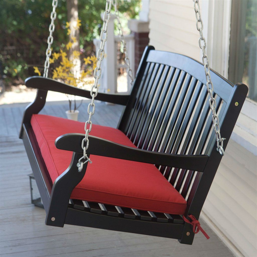 Black Wood 4 Ft Porch Swing With Sienna Red Cushion And Inside Most Up To Date A4 Ft Cedar Pergola Swings (View 24 of 25)