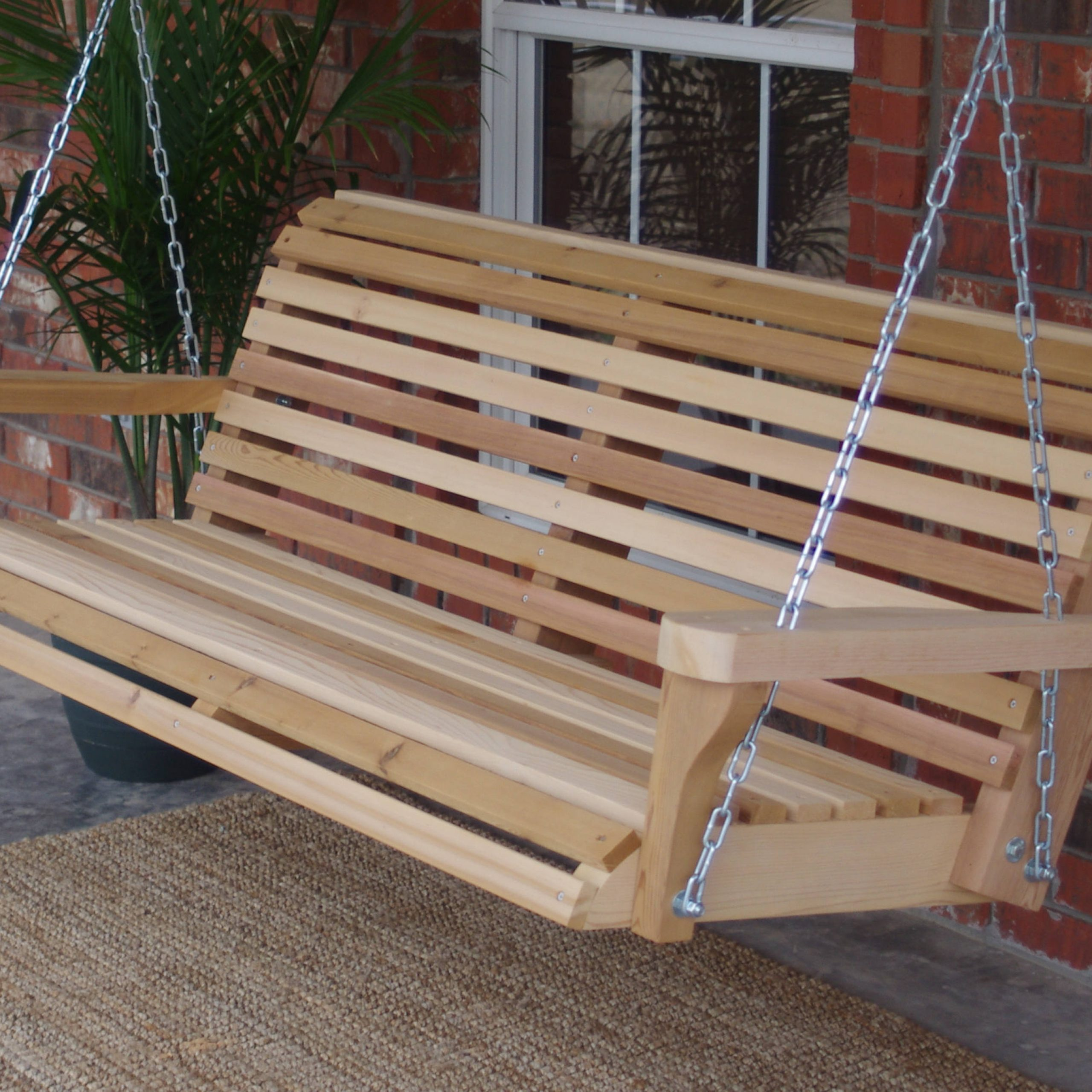 Brand New 6 Foot Cedar Wood Classic Porch Swing With Hanging Chain – Free Shipping In Most Current Contoured Classic Porch Swings (Gallery 3 of 25)