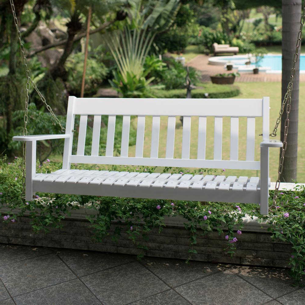 Cambridge Casual Thames White Wood Porch Swing In Most Current Casual thames Black Wood Porch Swings (View 7 of 25)