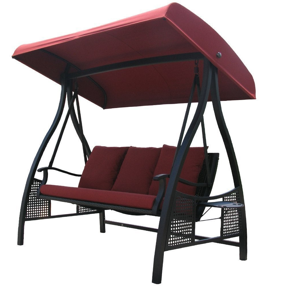 Canopy Patio Porch Swing With Stand Intended For Widely Used Havenside Home Baddeck Outdoor Red 3 Seat Porch Swing With Adjustable Polyester Canopy (View 14 of 25)