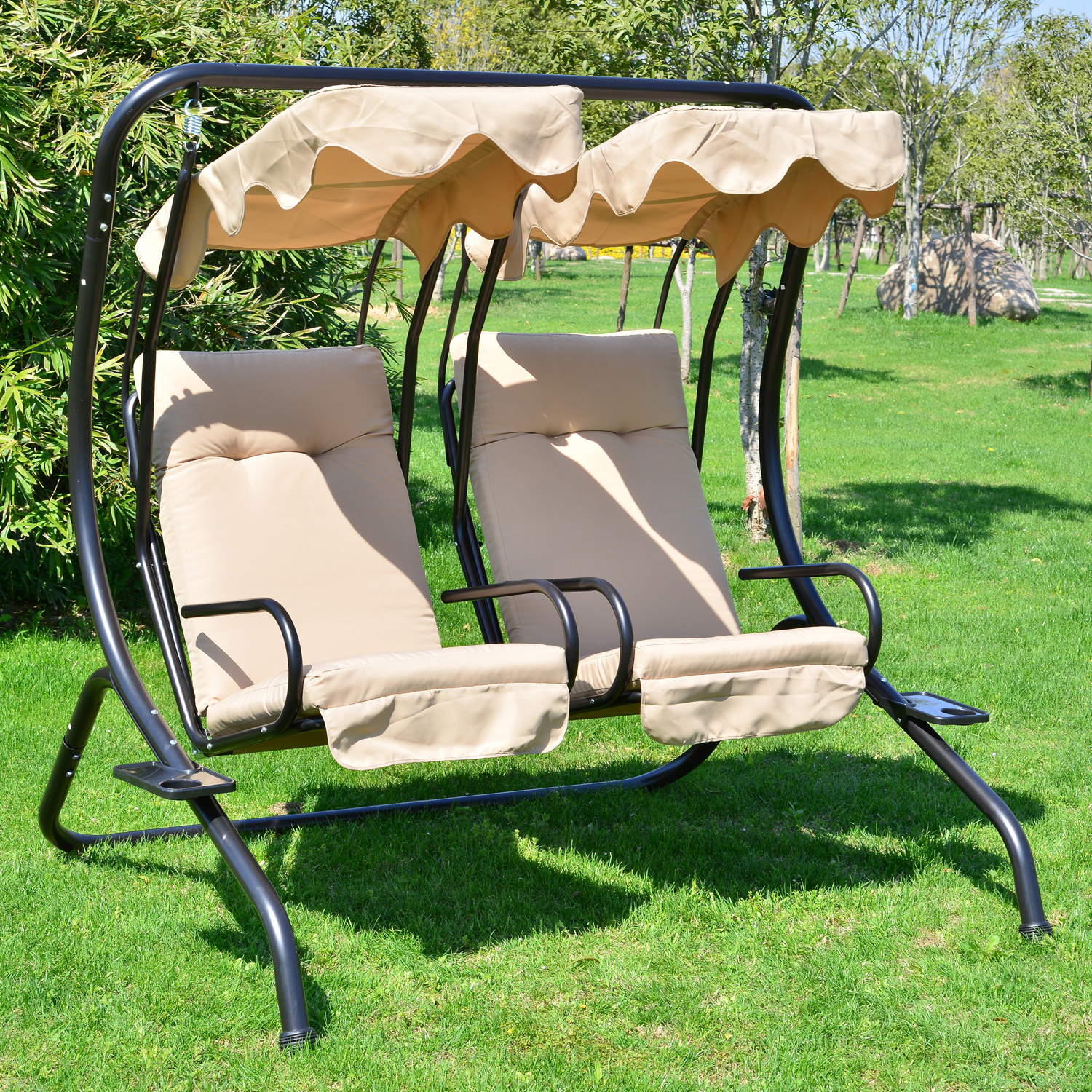 Canopy Patio Porch Swing With Stand With 2019 Outsunny Porch Swings (View 24 of 25)