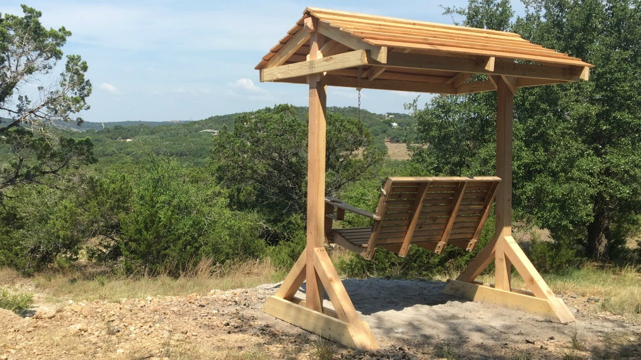 Canopy Patio Porch Swing With Stand Within 2020 How To Build A Porch Swing Frame (View 21 of 25)