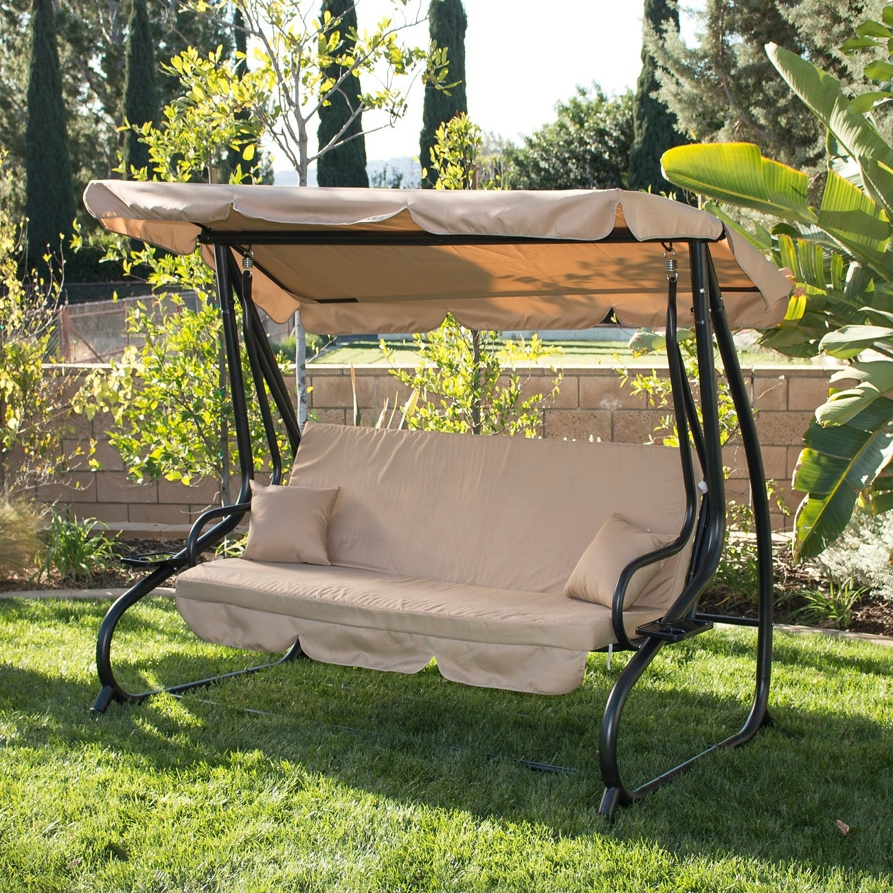 Canopy Patio Porch Swings With Pillows And Cup Holders Throughout Well Known Belleze Outdoor Canopy Porch Swing Bed Hammock Tilt Canopy Sun Shade Steel Frame (View 6 of 25)
