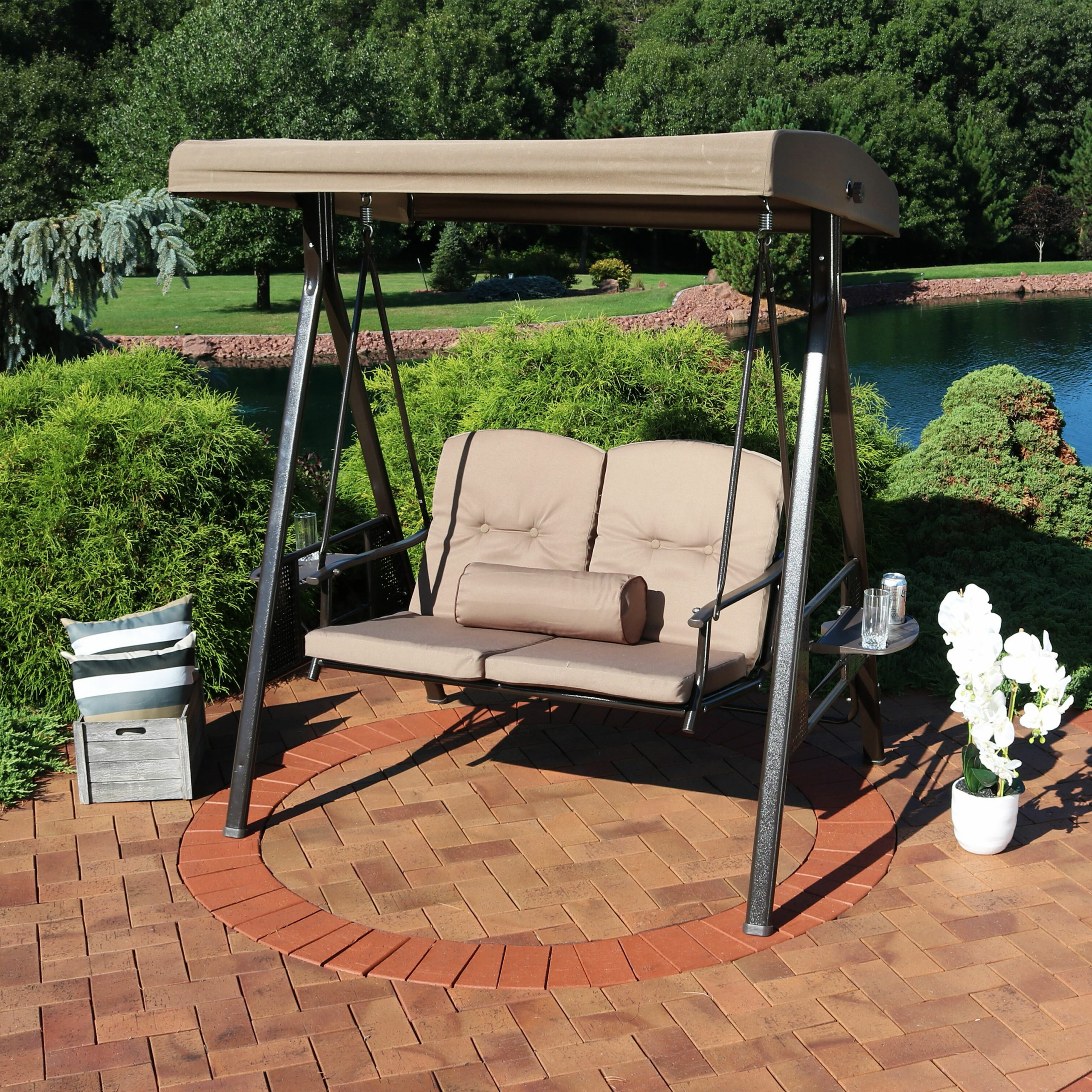 Canopy Porch Swings In Well Known Woodley 2 Person Adjustable Tilt Canopy Patio Loveseat Porch Swing (View 3 of 25)