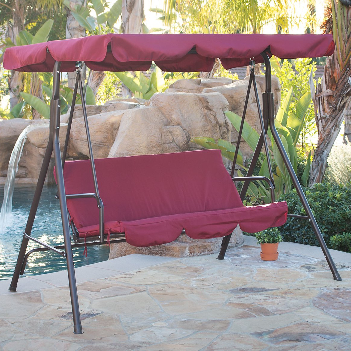 Canopy Porch Swings Within Most Popular Details About 3 Person Steel Outdoor Patio Porch Swing Chair With Stand And  Canopy Rocker (View 7 of 25)