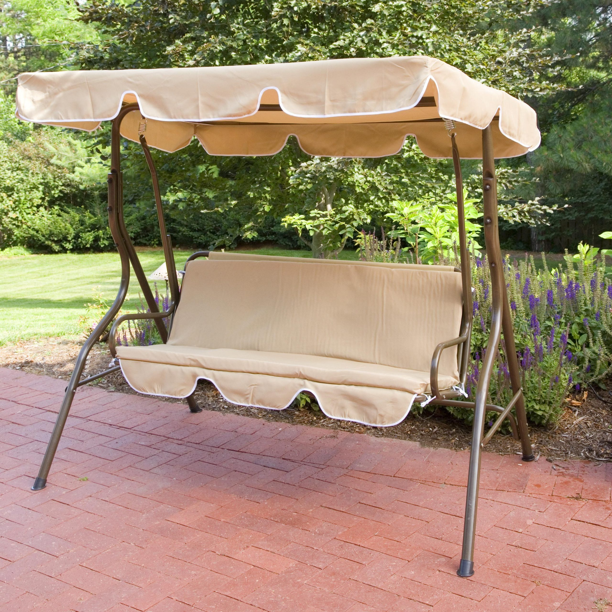 Canopy Swing Set: Ginger Cove 2 Person Canopy Swing In Trendy Patio Glider Hammock Porch Swings (View 14 of 25)