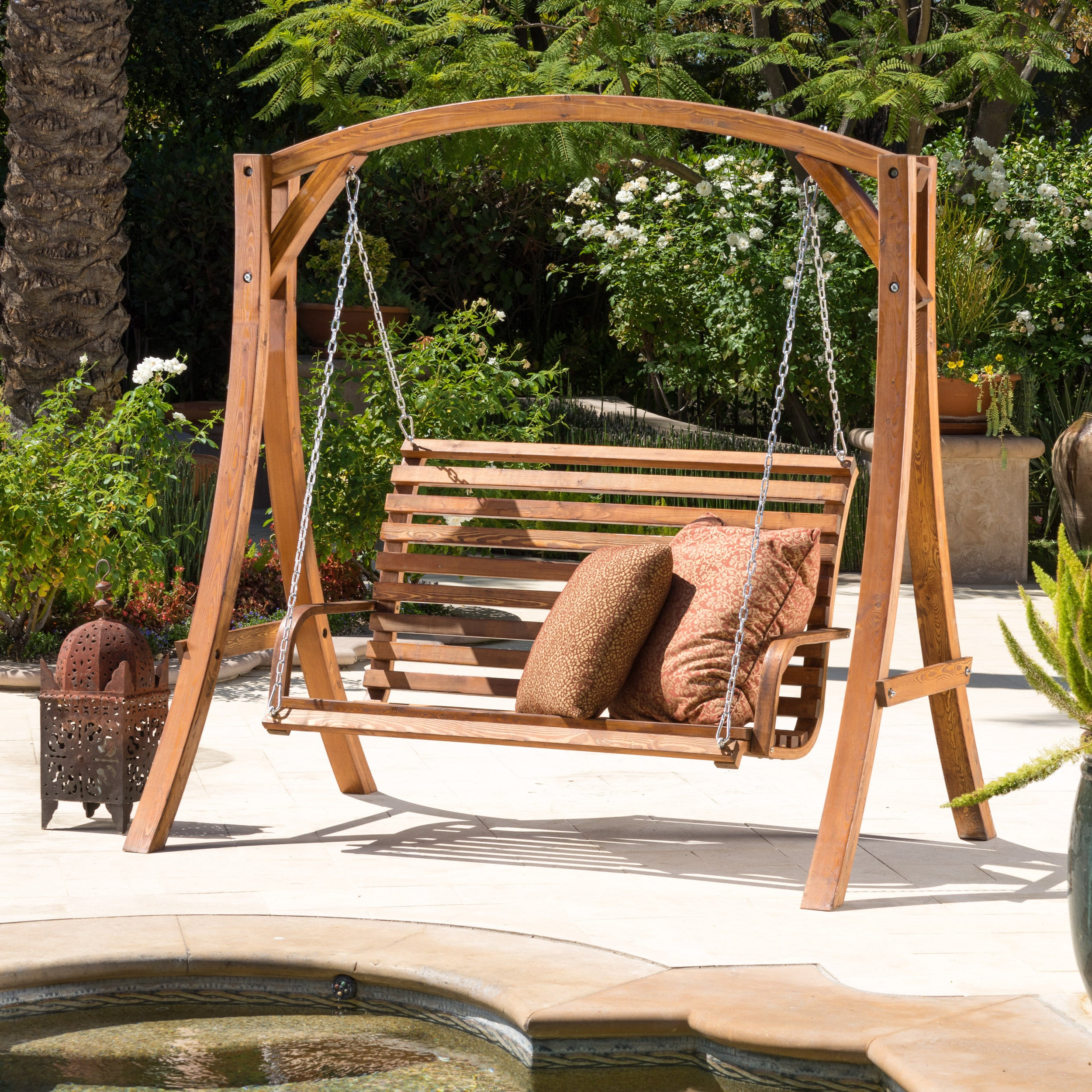 Christopher Knight Home Tulip Outdoor Wood Swinging Loveseat Inside Current 2 Person Natural Cedar Wood Outdoor Swings (View 10 of 25)